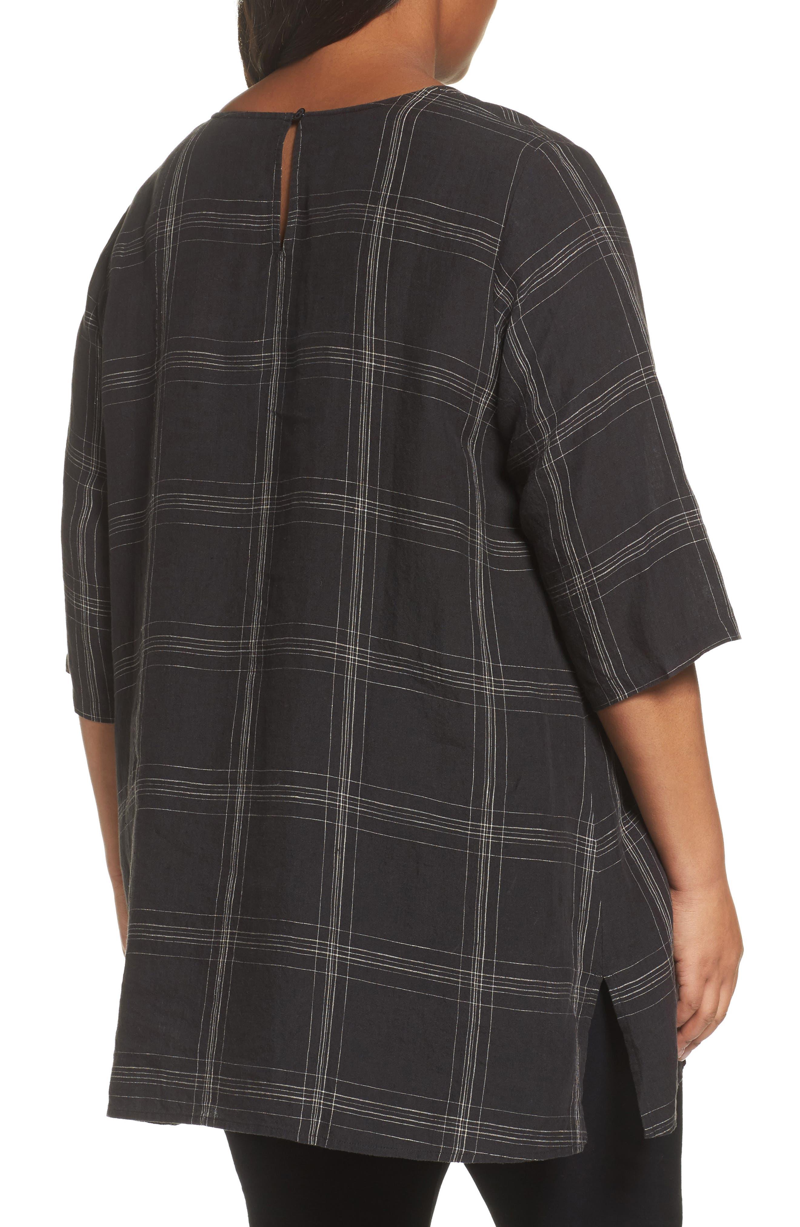 Plaid Organic Linen Tunic,                             Alternate thumbnail 2, color,                             Black