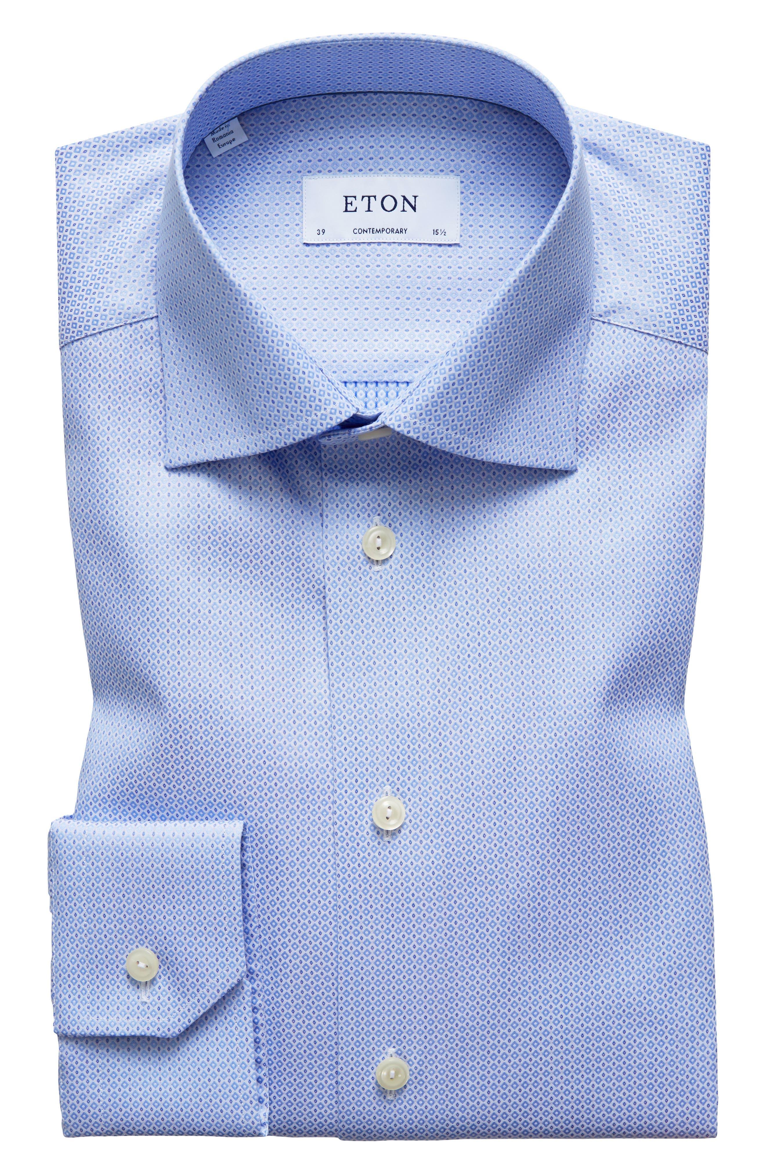 Contemporary Fit Geometric Dress Shirt,                             Main thumbnail 1, color,                             Blue