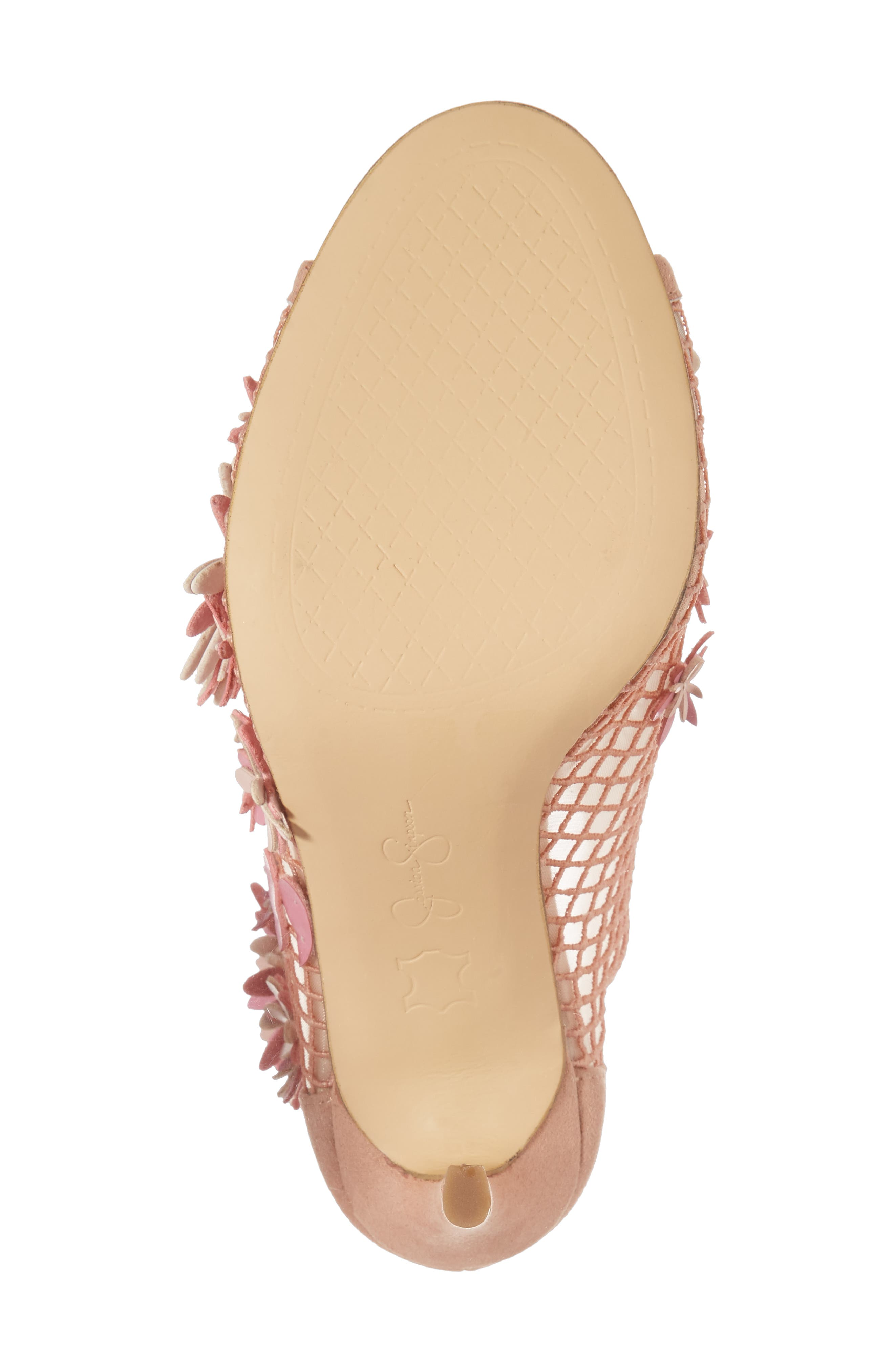 Jayko Flower Mesh Bootie,                             Alternate thumbnail 6, color,                             Nude Blush