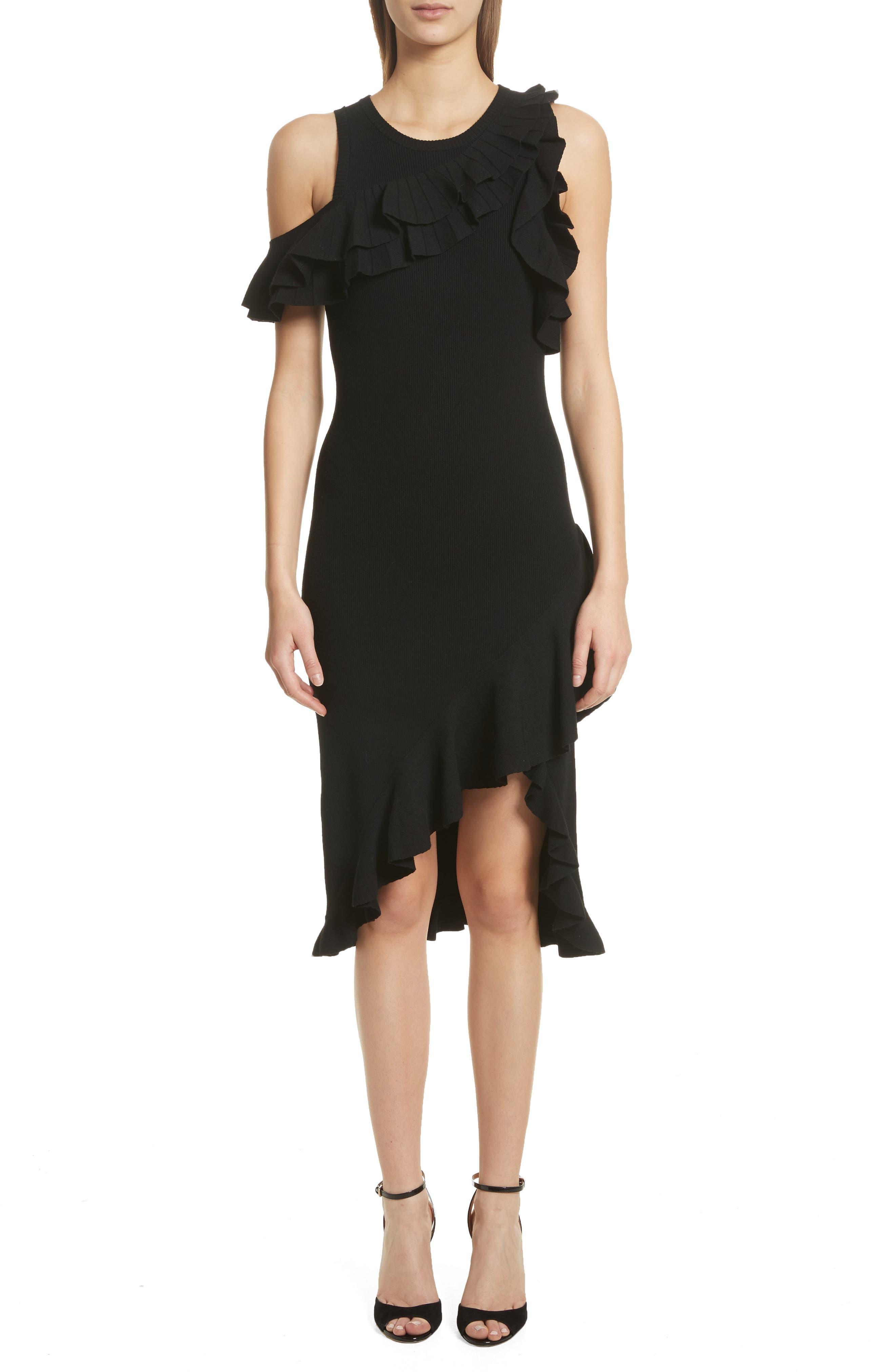 Kellam Ruffle Body-Con Dress,                             Main thumbnail 1, color,                             Black