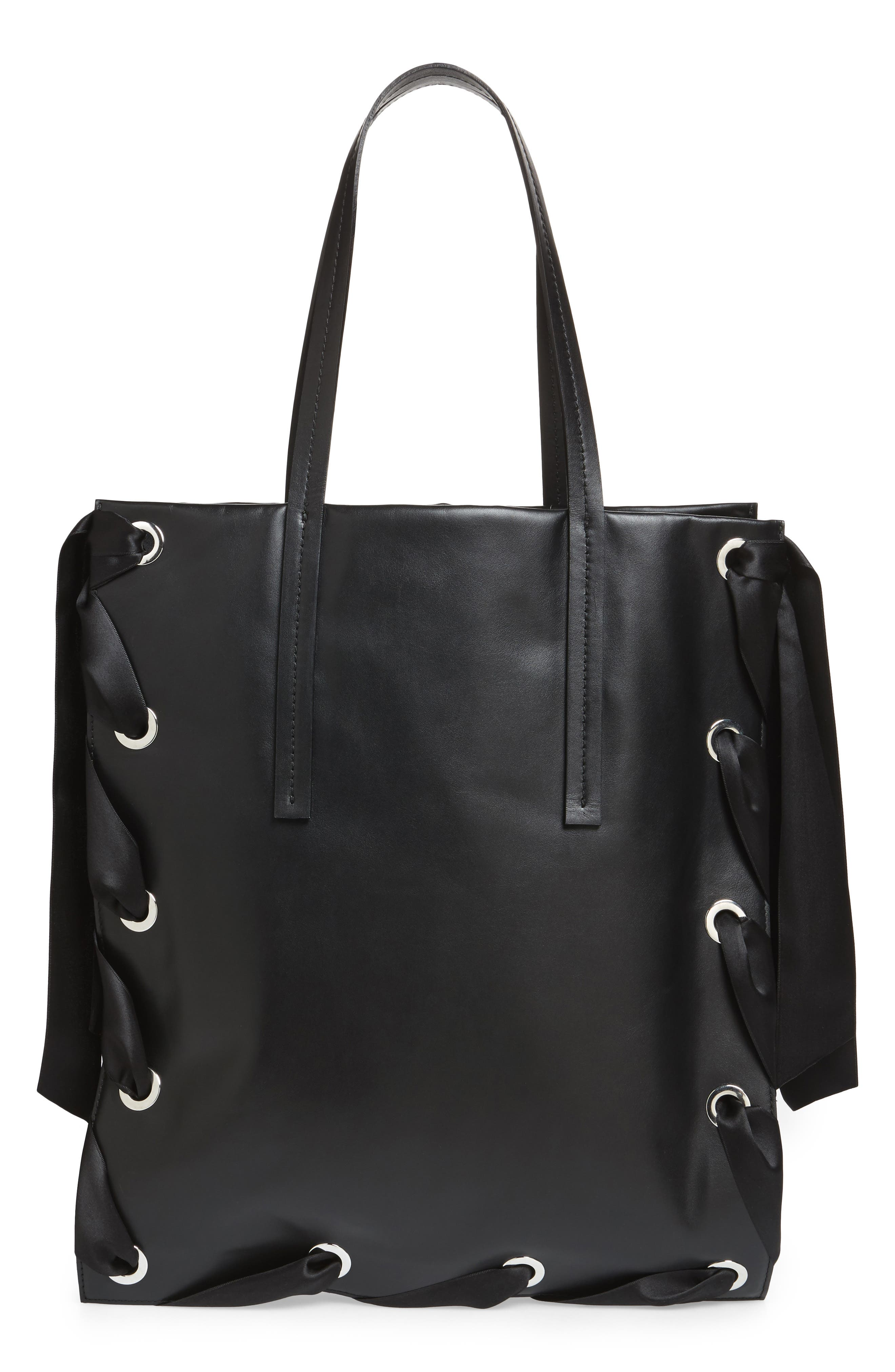 Premium Leather Grace Tote Bag,                         Main,                         color, Black