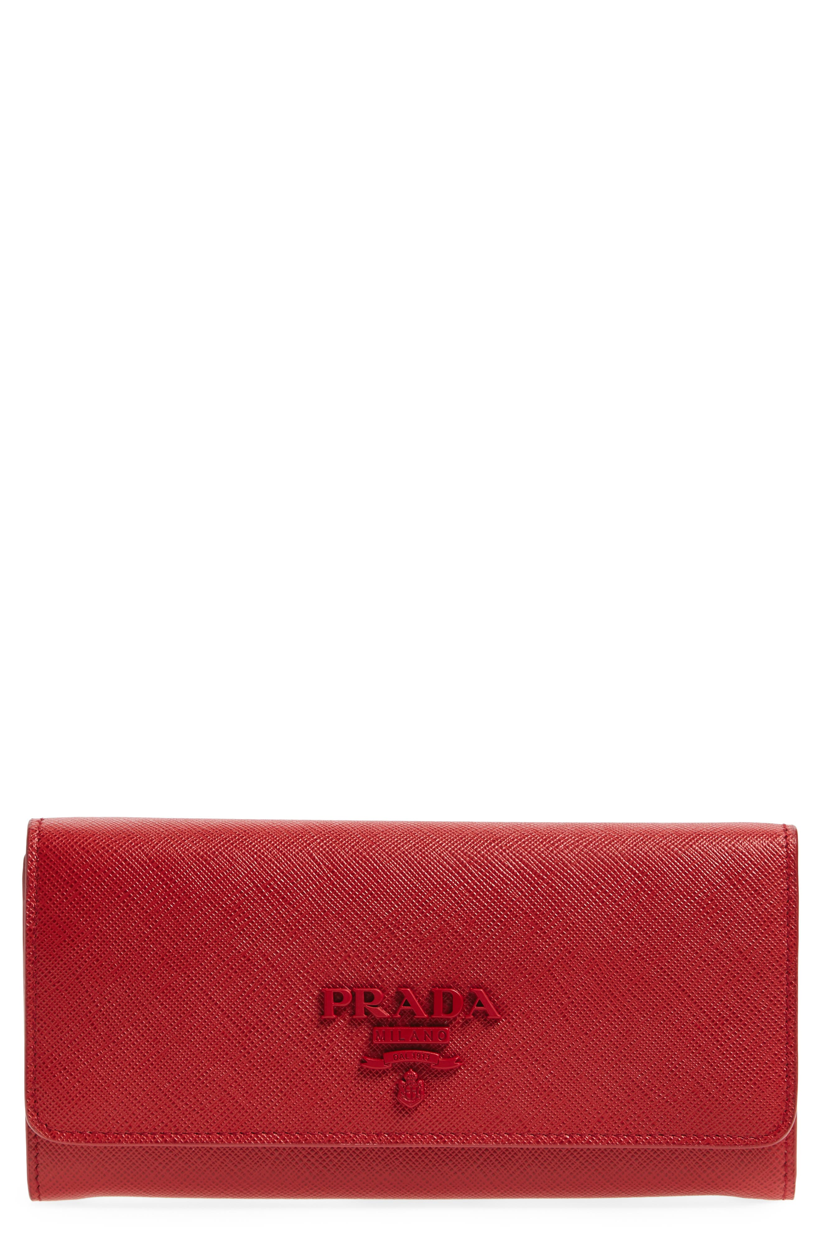 Saffiano Leather Wallet,                             Main thumbnail 1, color,                             Fuoco