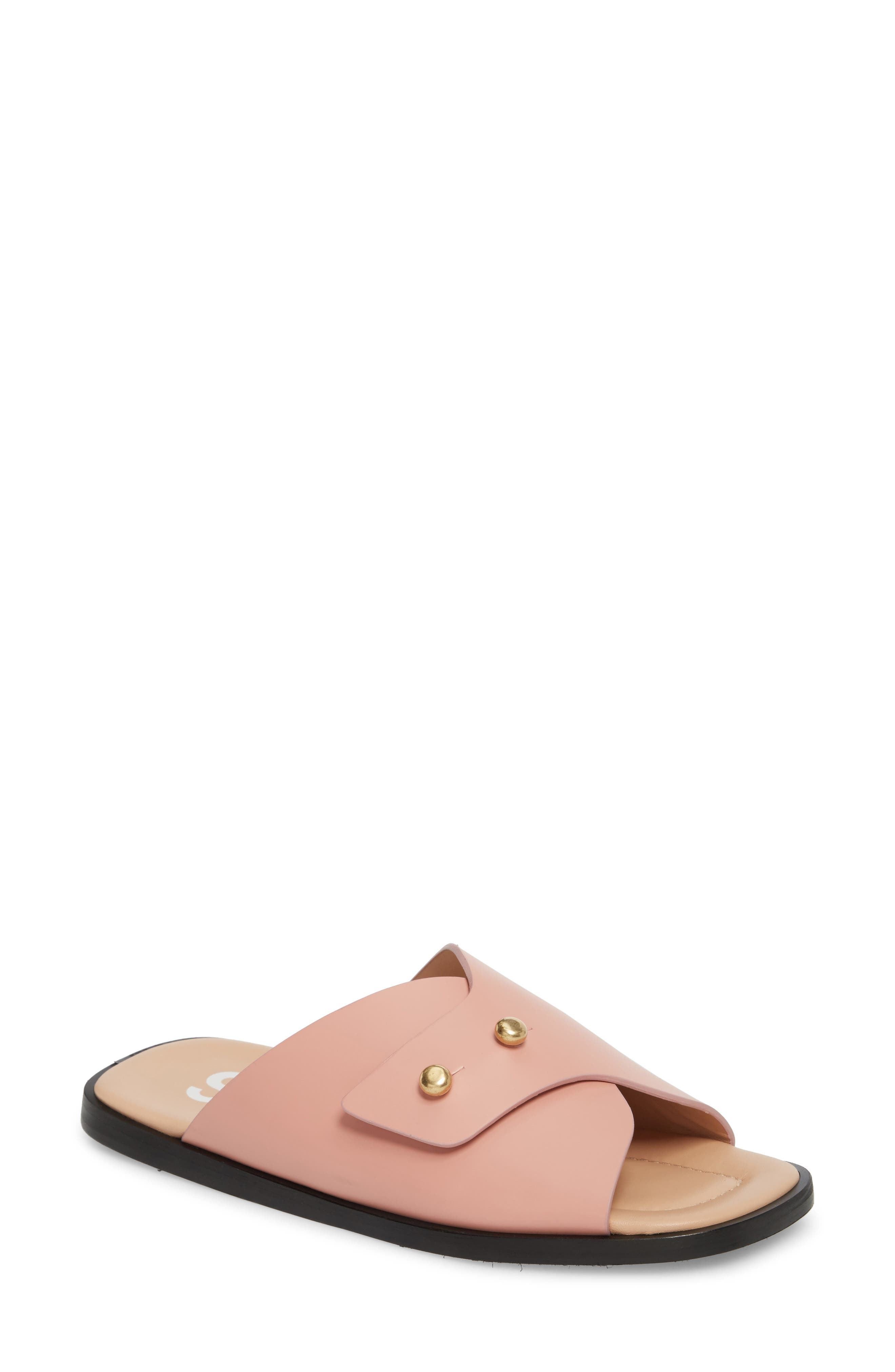 Jilly Studded Slide Sandal,                             Main thumbnail 1, color,                             Pink