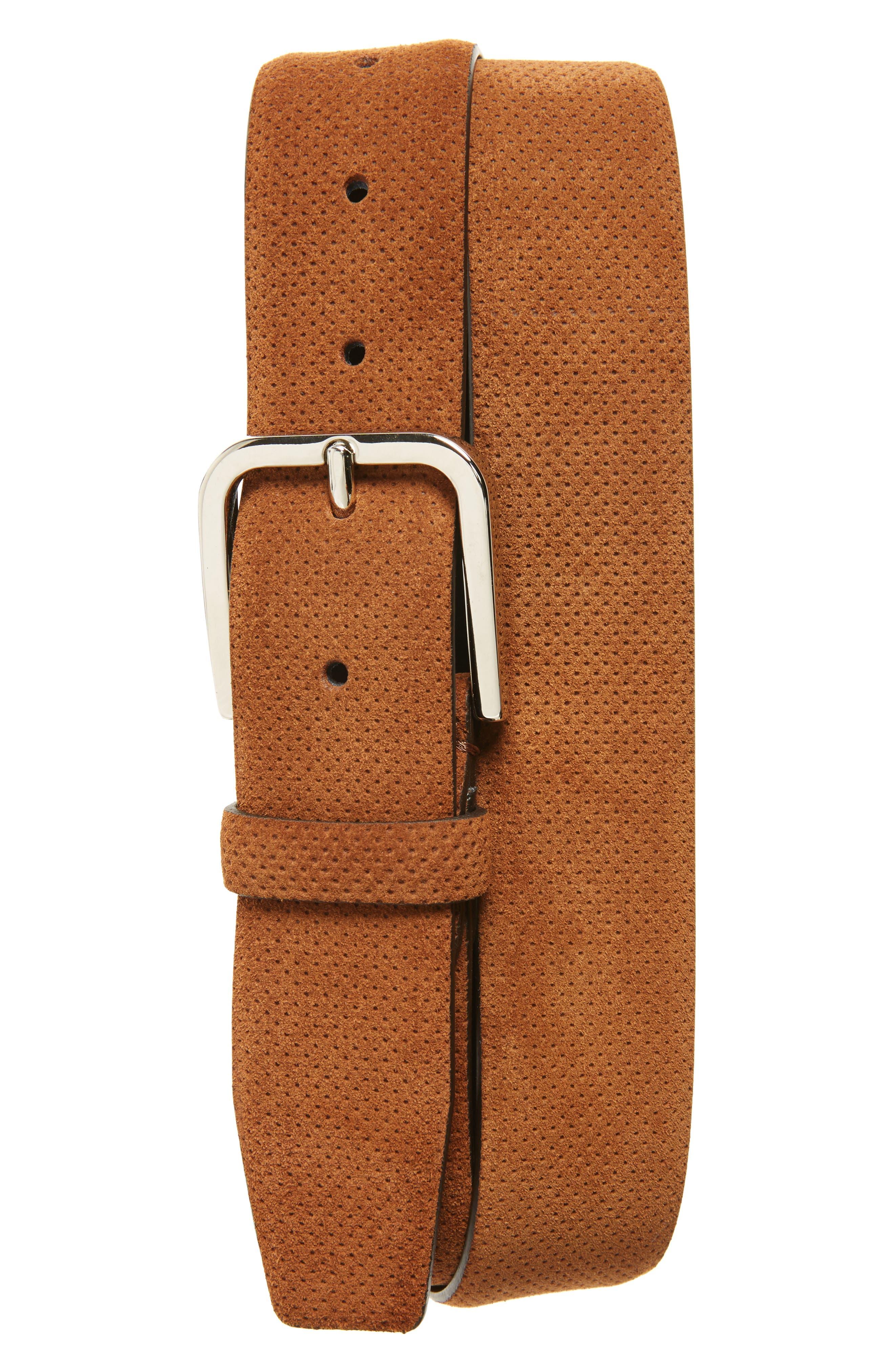 Perforated Suede Belt,                         Main,                         color, Medium Brown