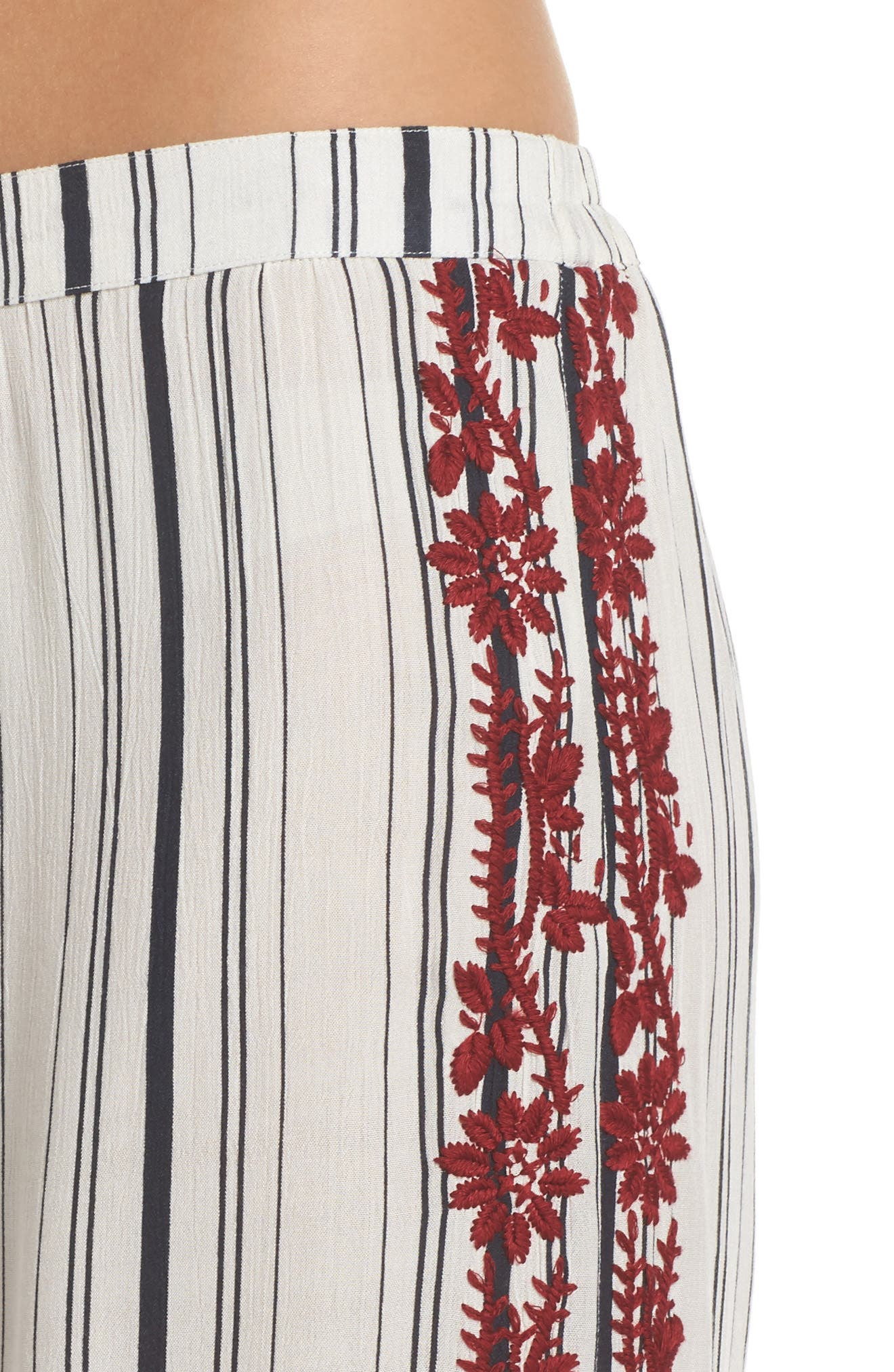 Arielle Stripe Cover-Up Pants,                             Alternate thumbnail 4, color,                             White/ Navy