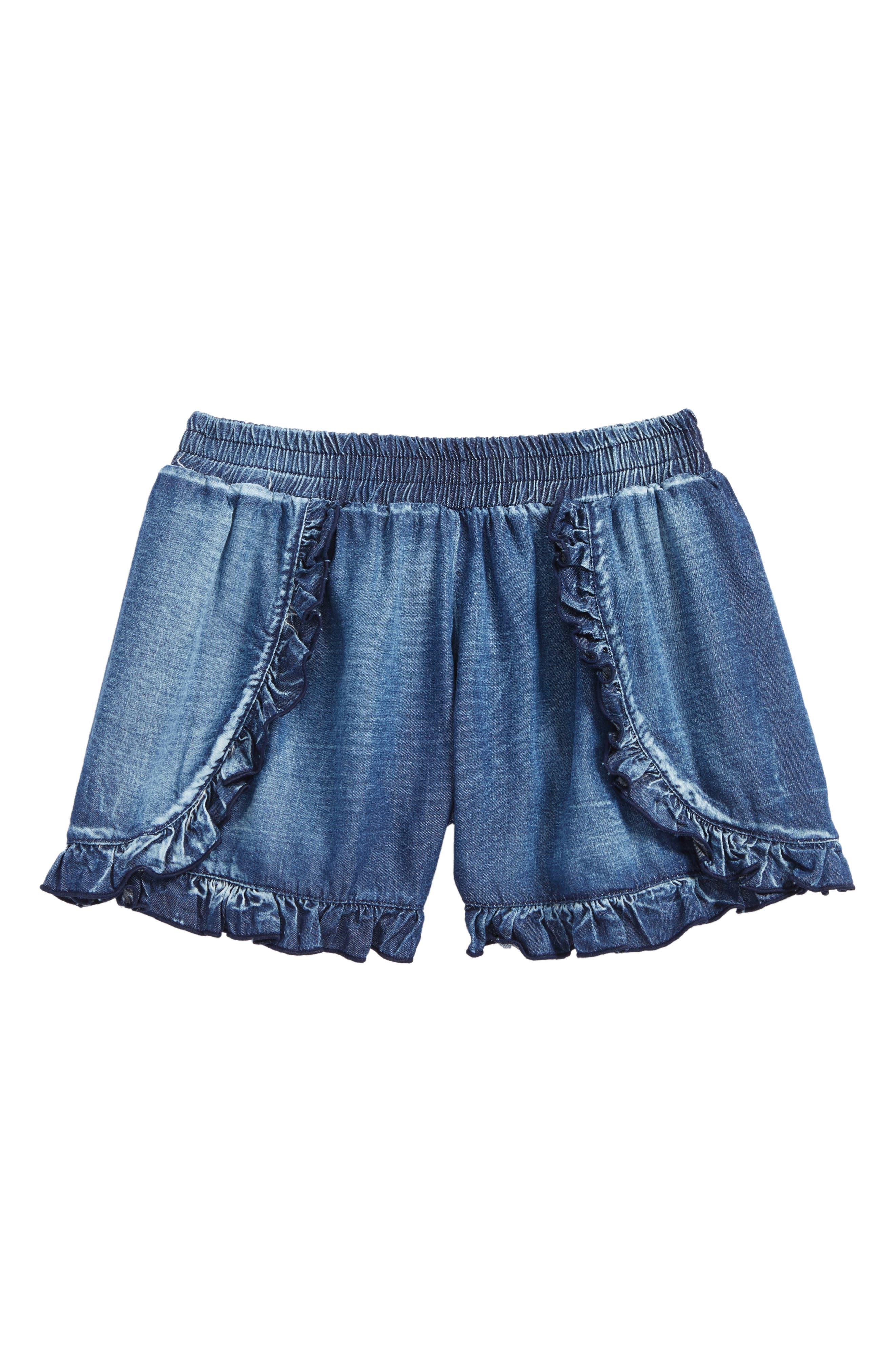 Ruffle Shorts,                         Main,                         color, Denim-Rayodw-Denim-Ws-Rayodw