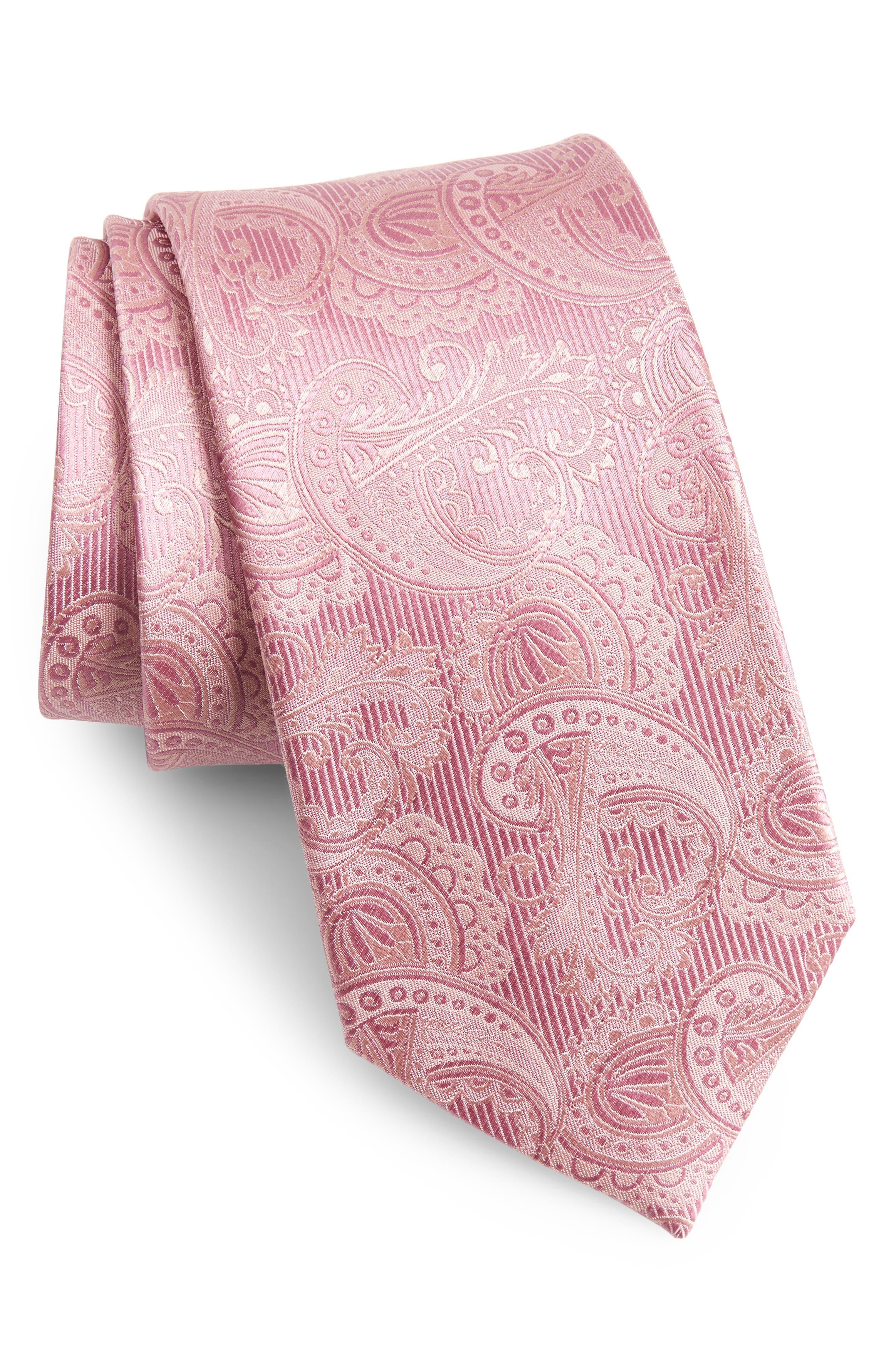 Paisley Silk Tie,                             Main thumbnail 1, color,                             Dusty Rose
