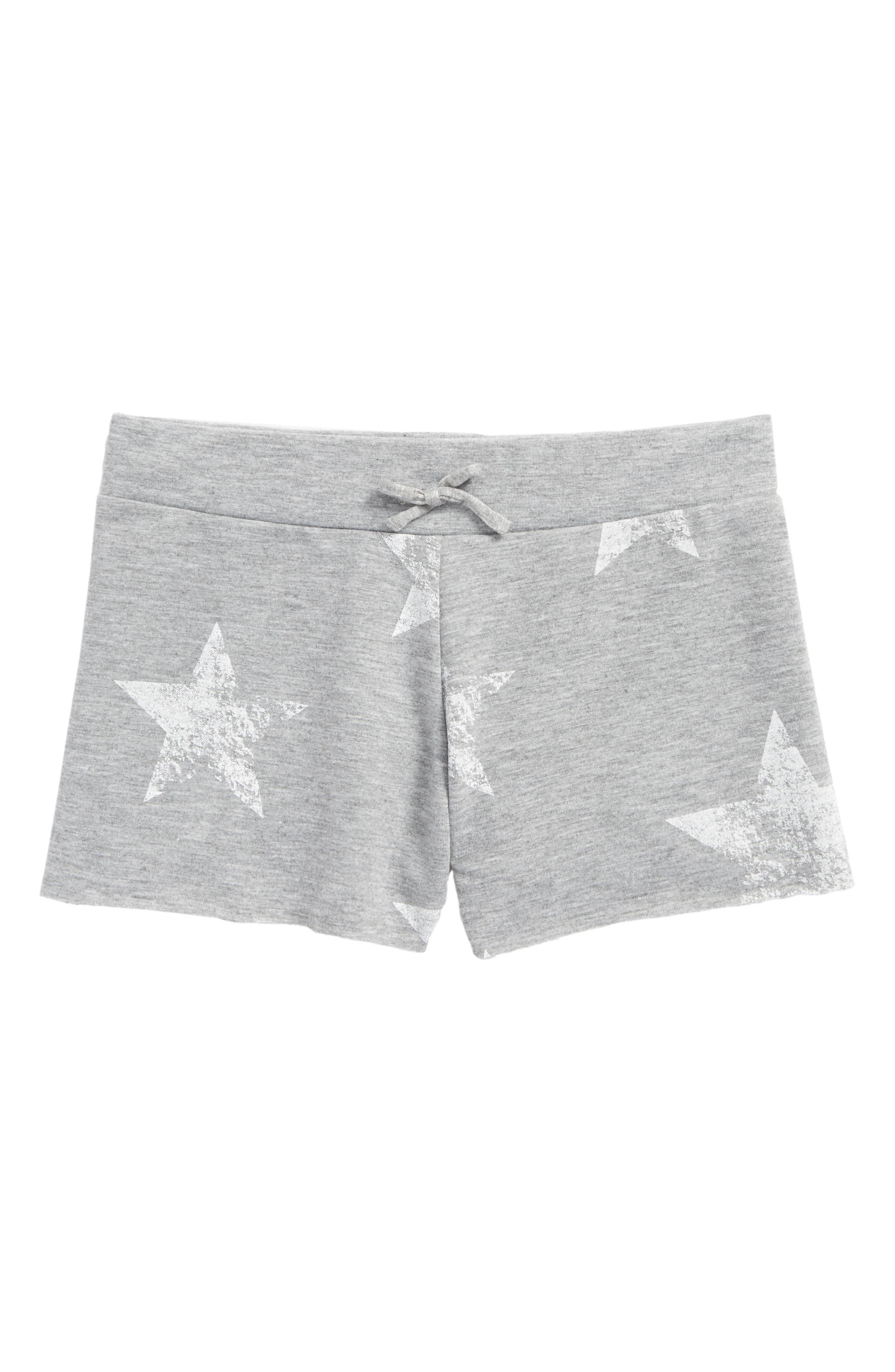 Star Print Knit Shorts,                             Main thumbnail 1, color,                             Grey Mgrwst Stars Mgrwst