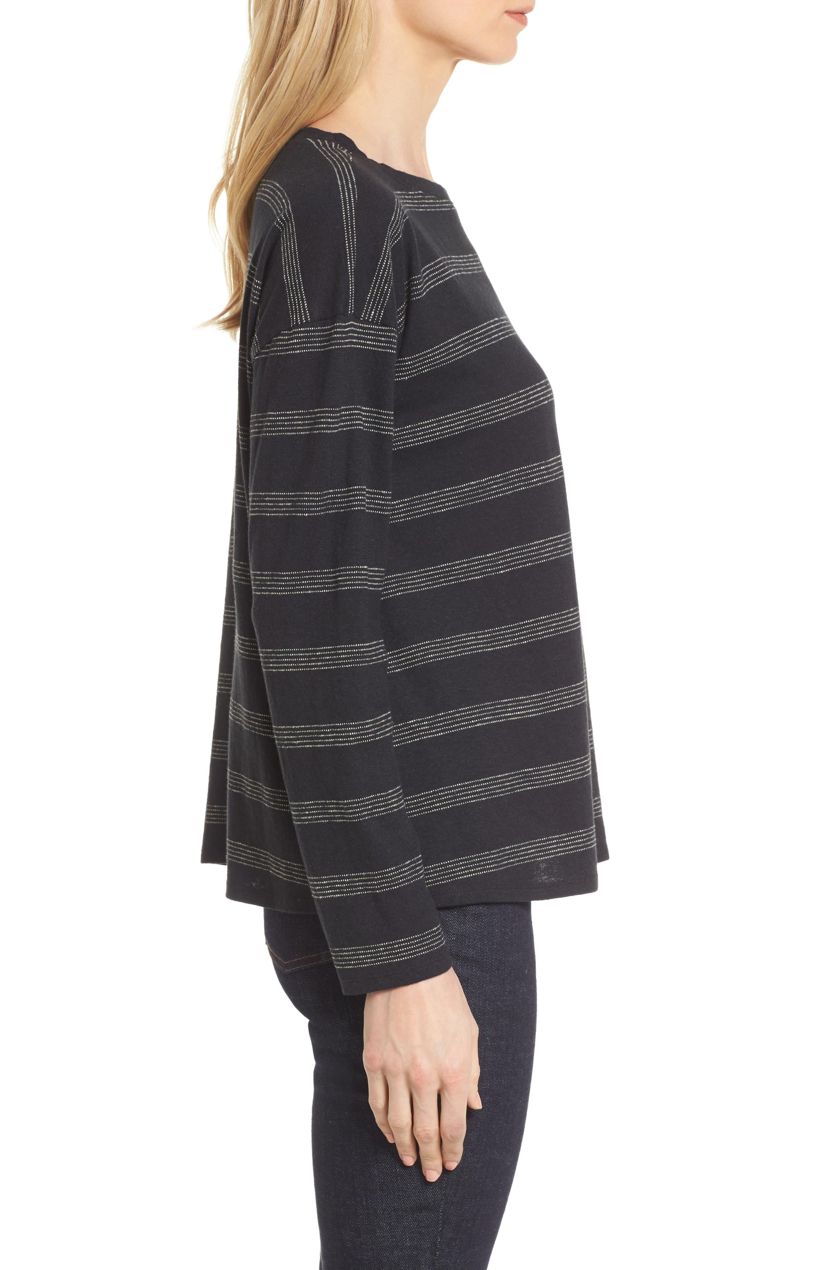 Stripe Hemp & Organic Cotton Top,                             Alternate thumbnail 3, color,                             Black