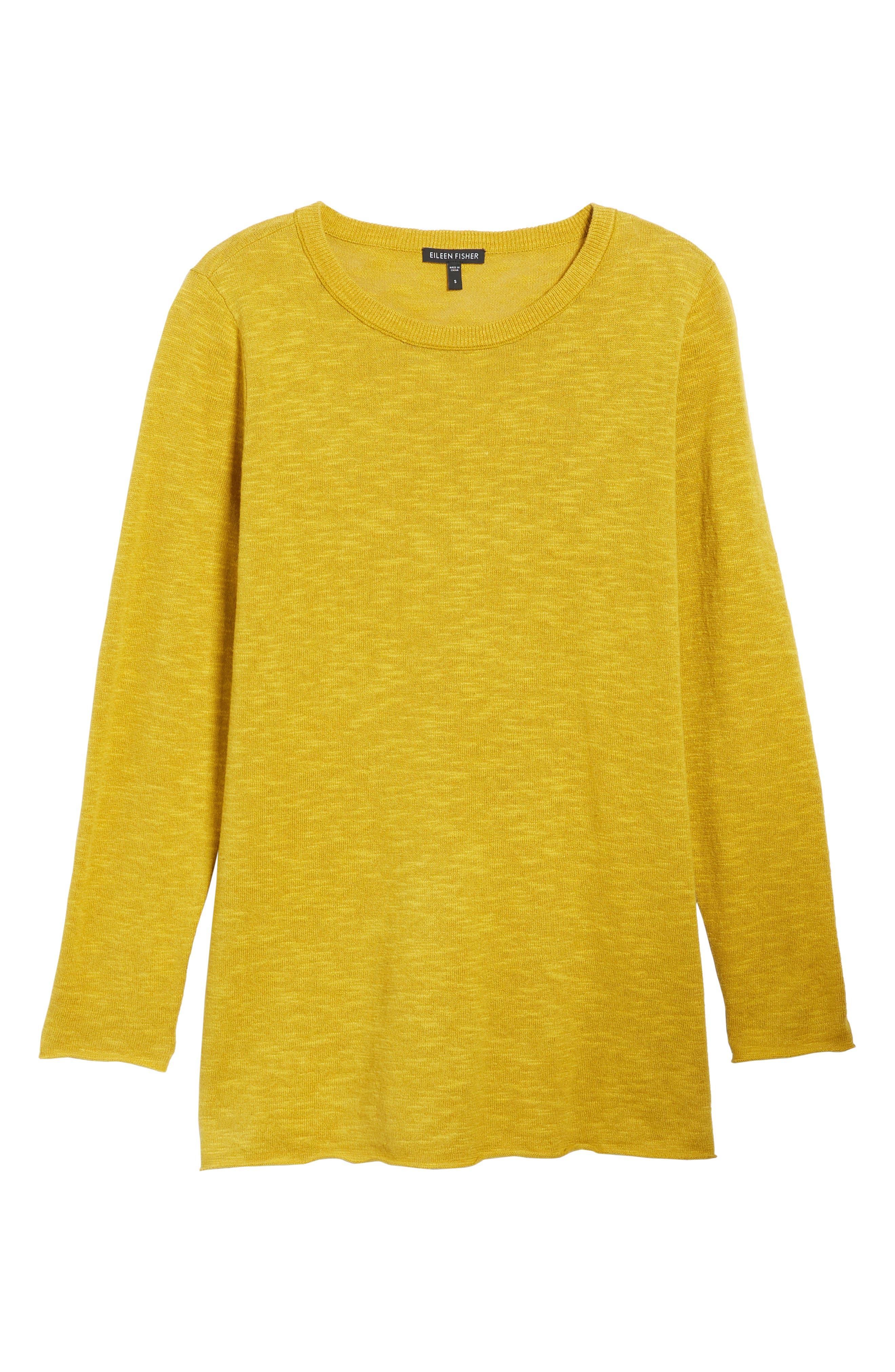 Organic Knit Crewneck Tunic Top,                             Alternate thumbnail 6, color,                             Mustard Seed