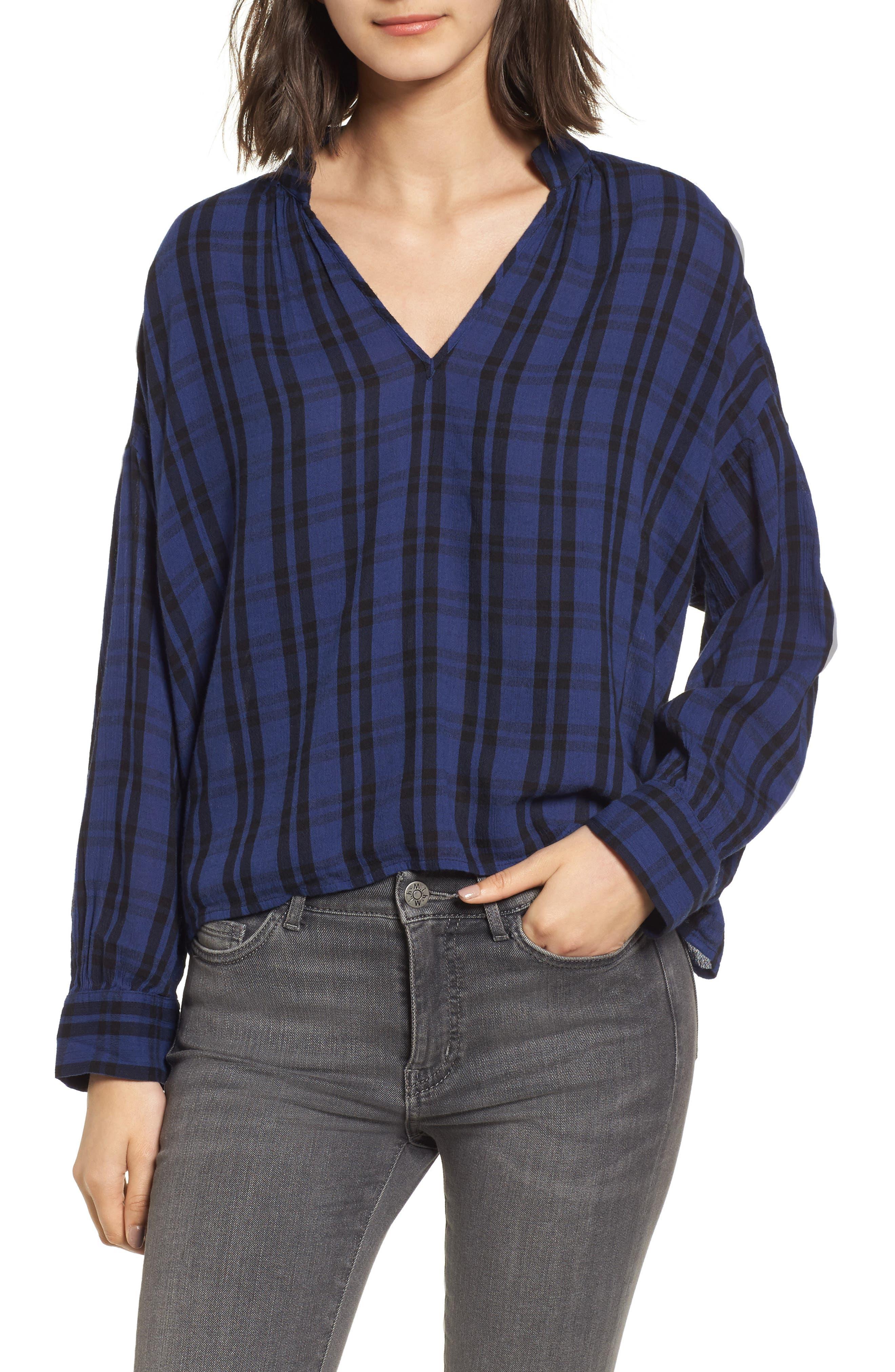 Plaid Shirred Neck Shirt,                         Main,                         color, Dark River