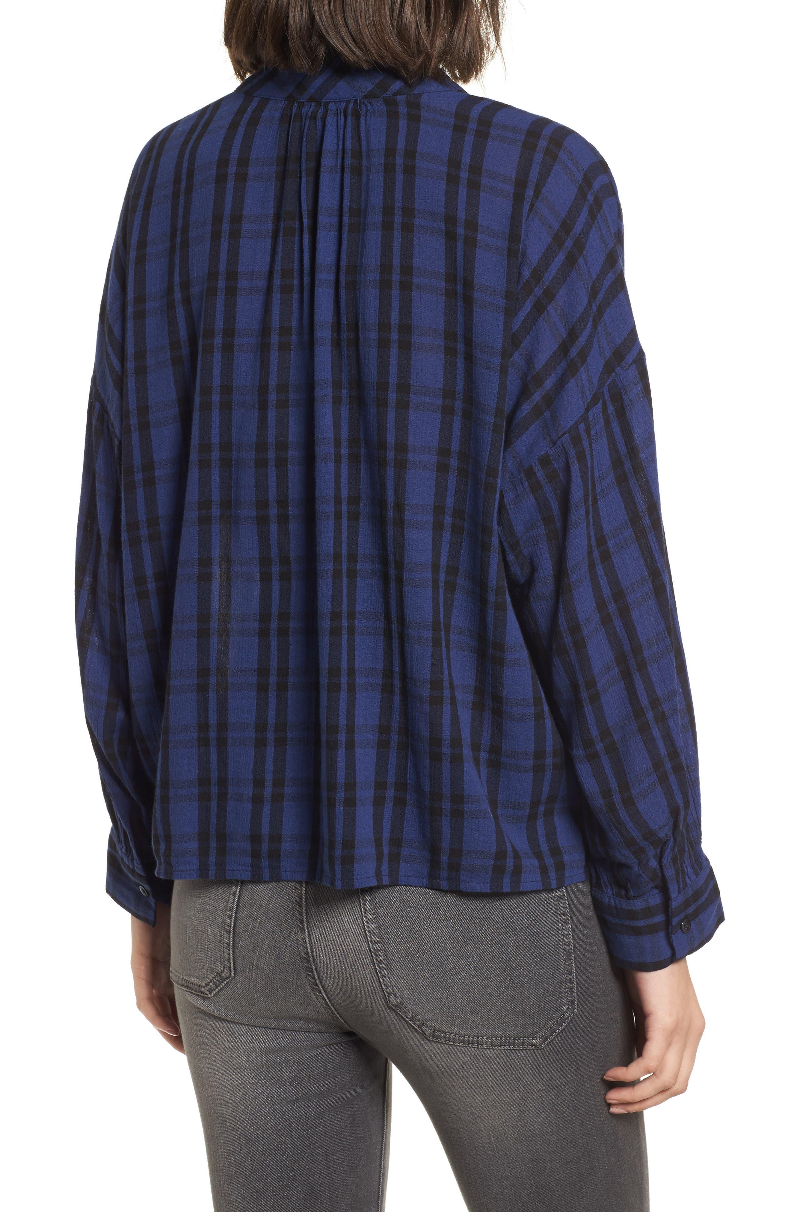 Plaid Shirred Neck Shirt,                             Alternate thumbnail 2, color,                             Dark River