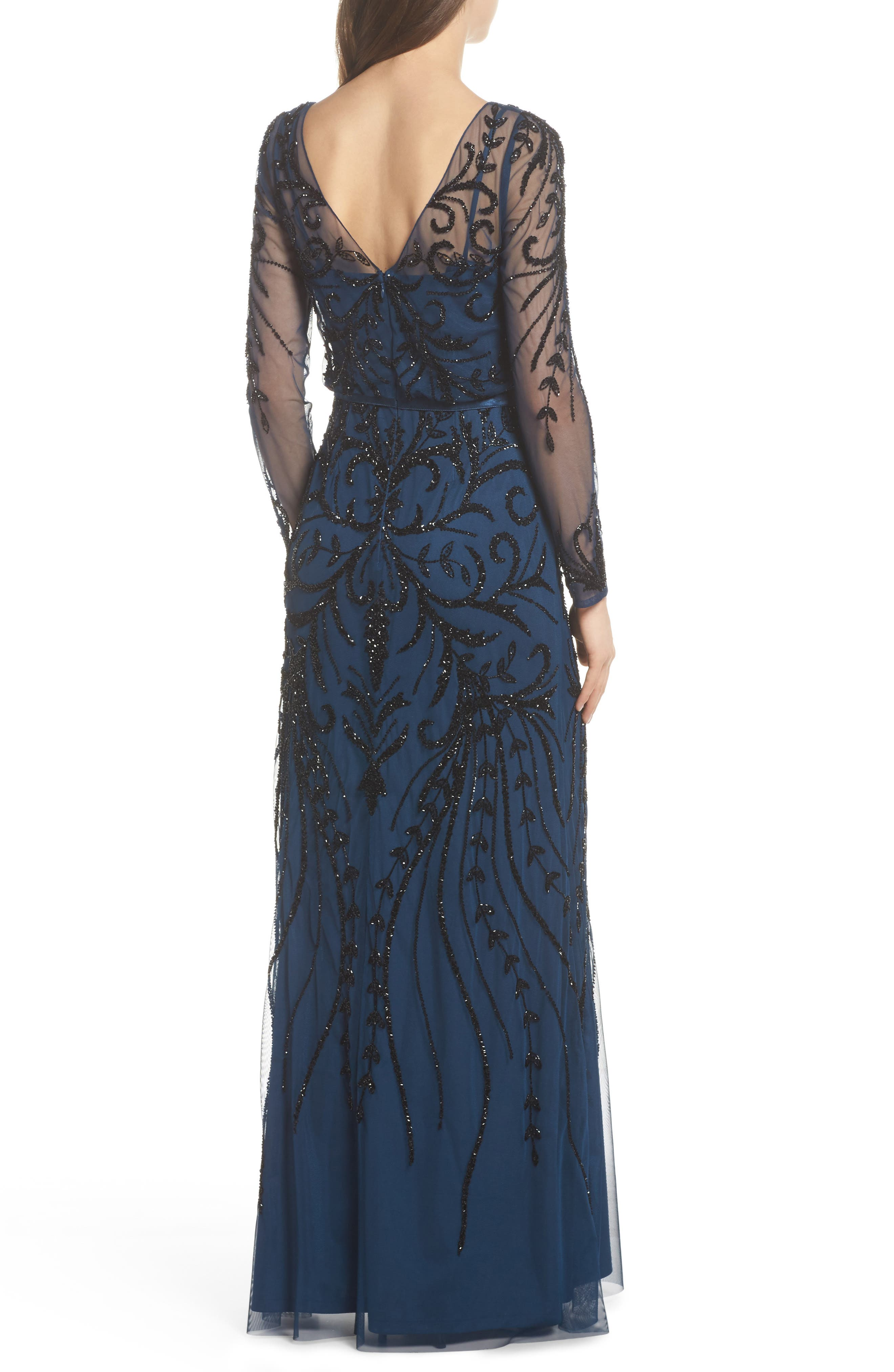 Embellished Long Sleeve Gown,                             Alternate thumbnail 2, color,                             Deep Blue
