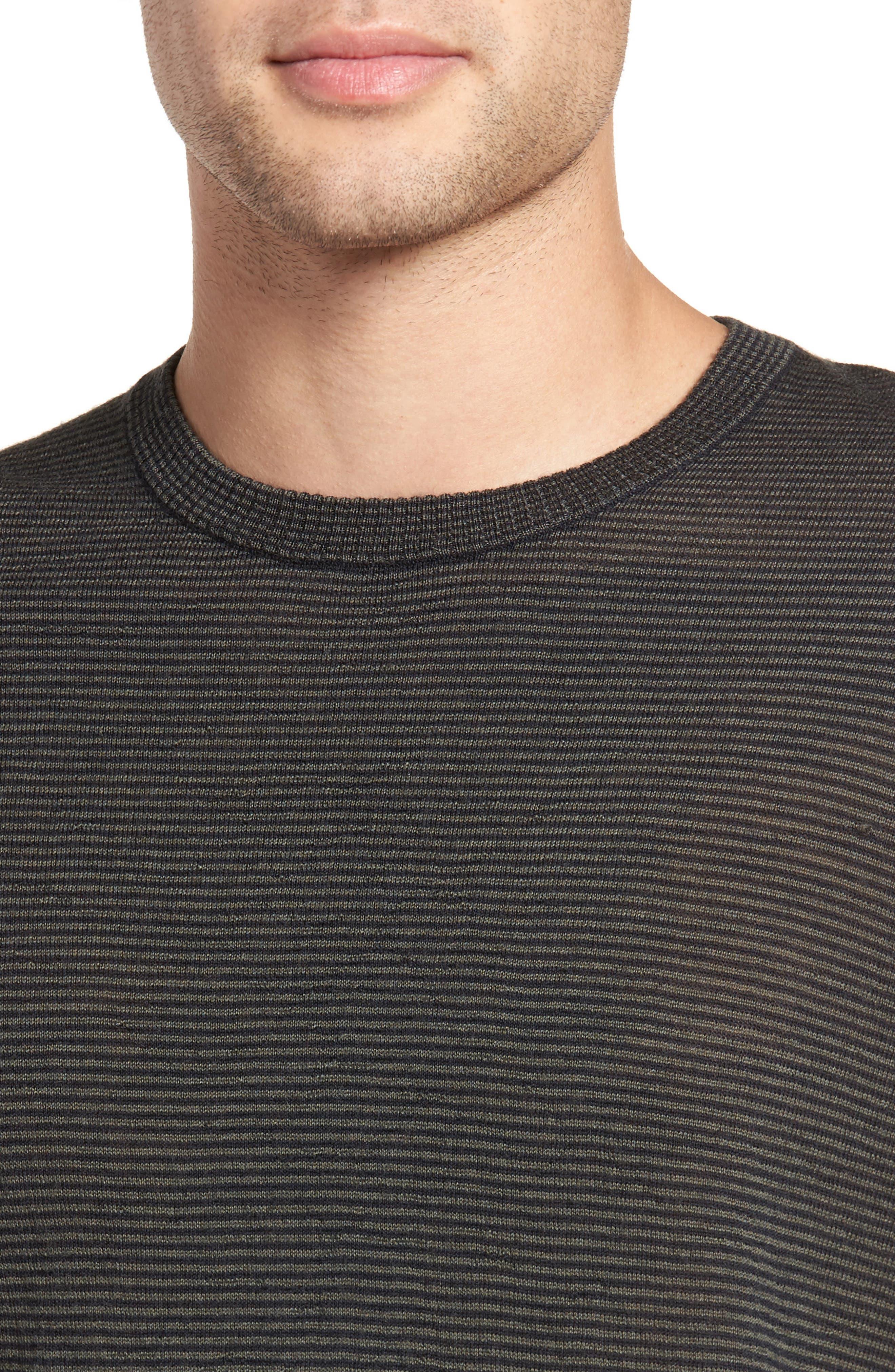 Regular Fit Pinstripe Wool Sweater,                             Alternate thumbnail 4, color,                             New Coastal/ H Charcoal
