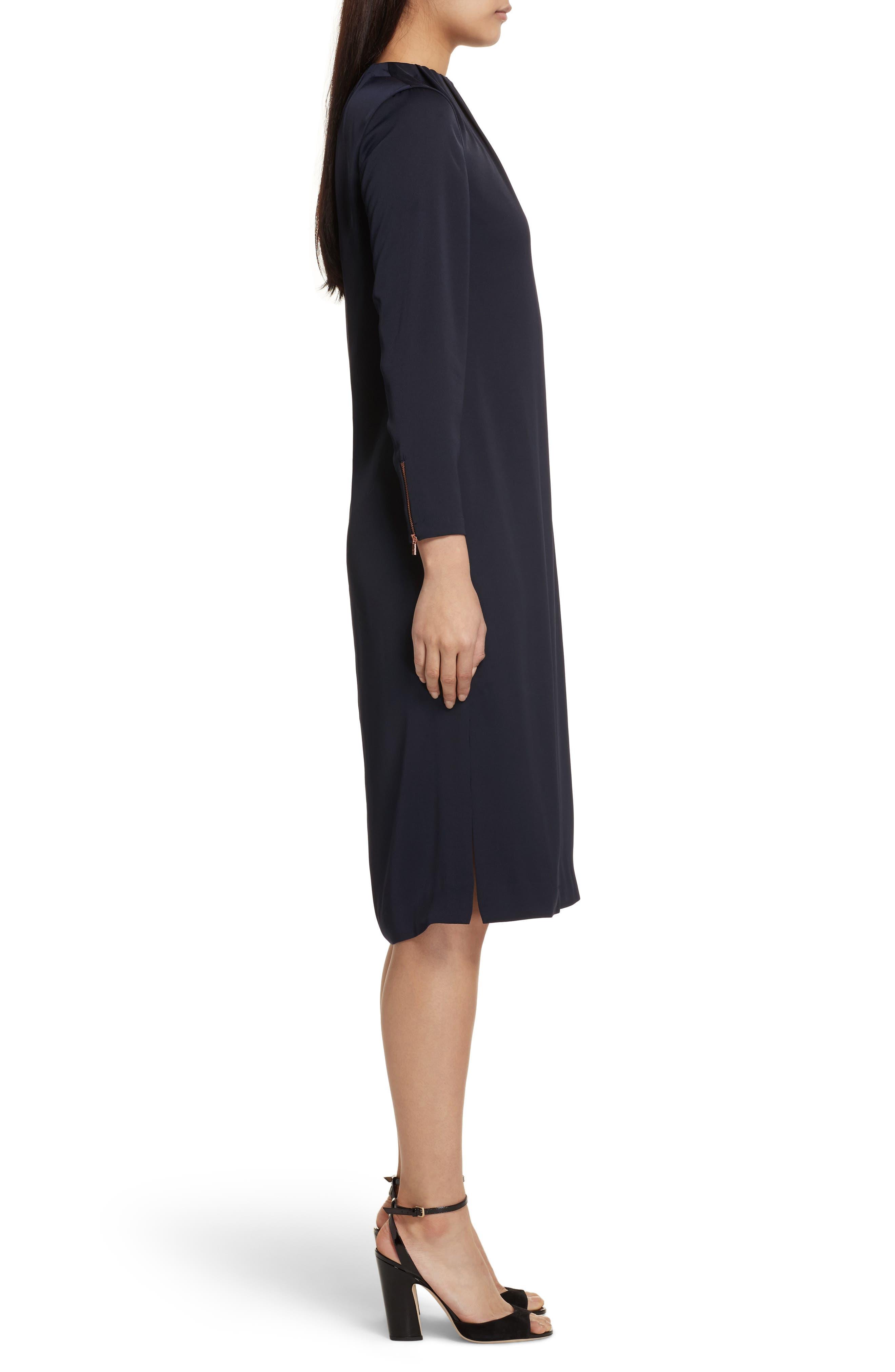 Ruched Neck Dress,                             Alternate thumbnail 3, color,                             Dark Blue