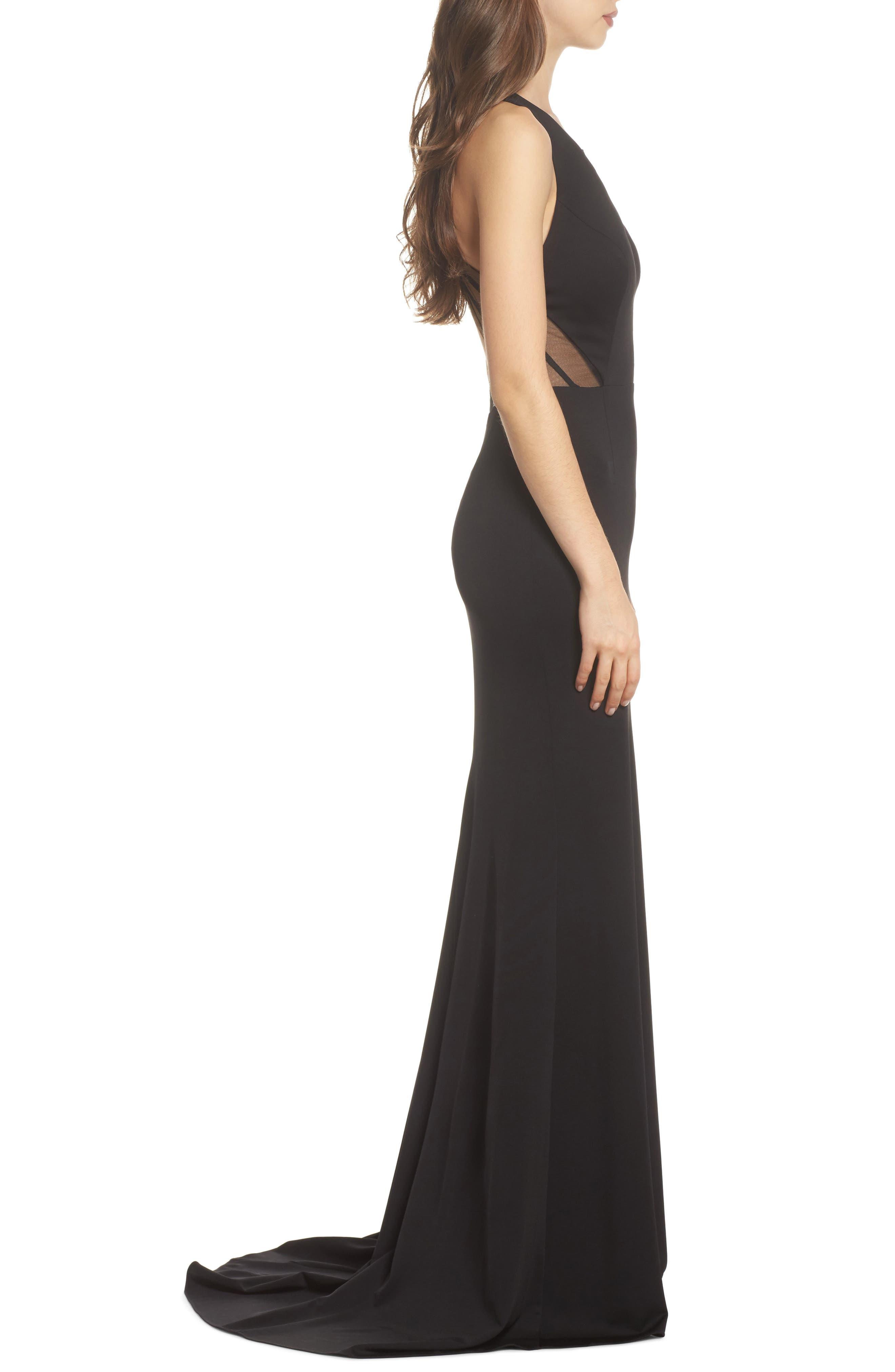 Lola Crossback Jersey Halter Gown,                             Alternate thumbnail 3, color,                             Black