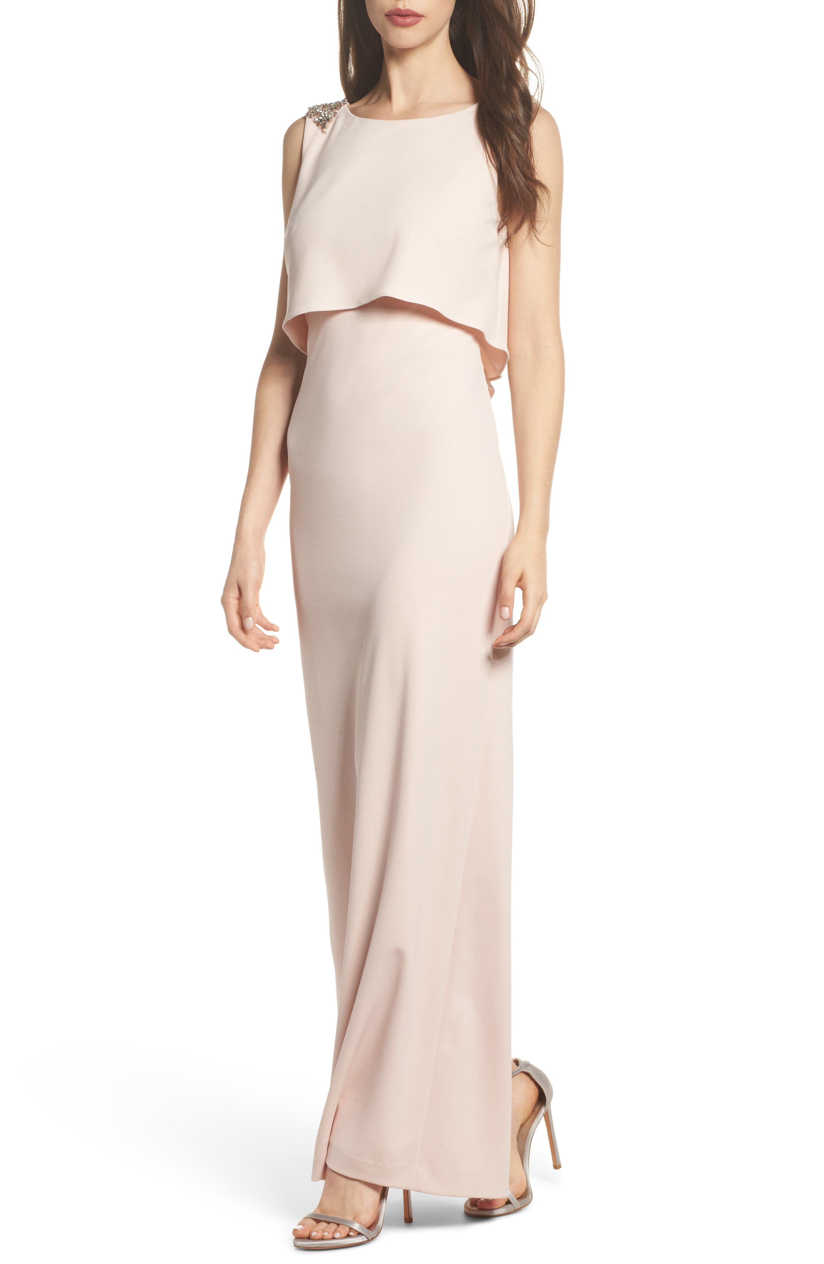 Embellished Crepe Popover Gown,                             Main thumbnail 1, color,                             Light Blush