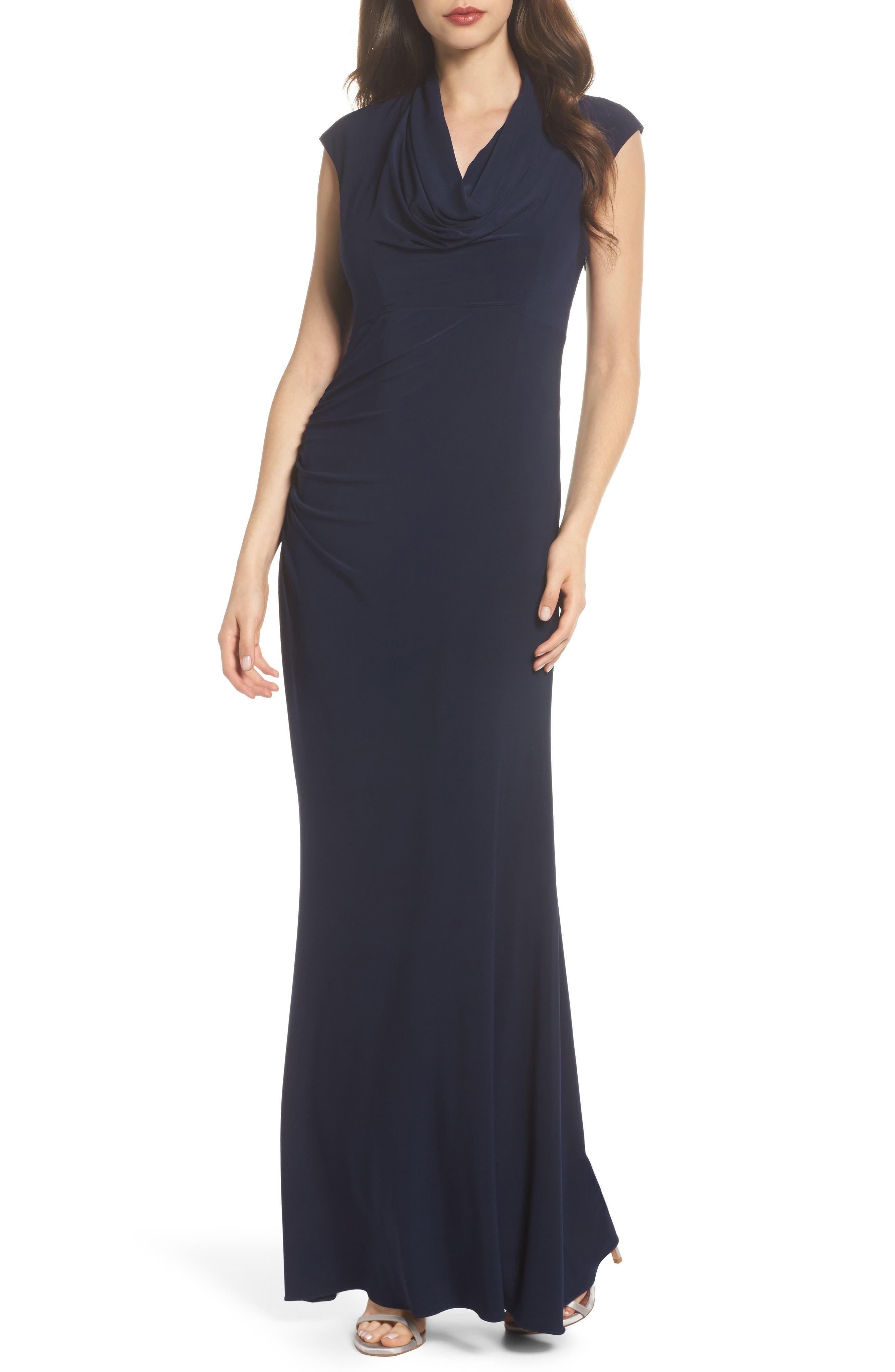 Draped Jersey Maxi Dress,                         Main,                         color, Midnight
