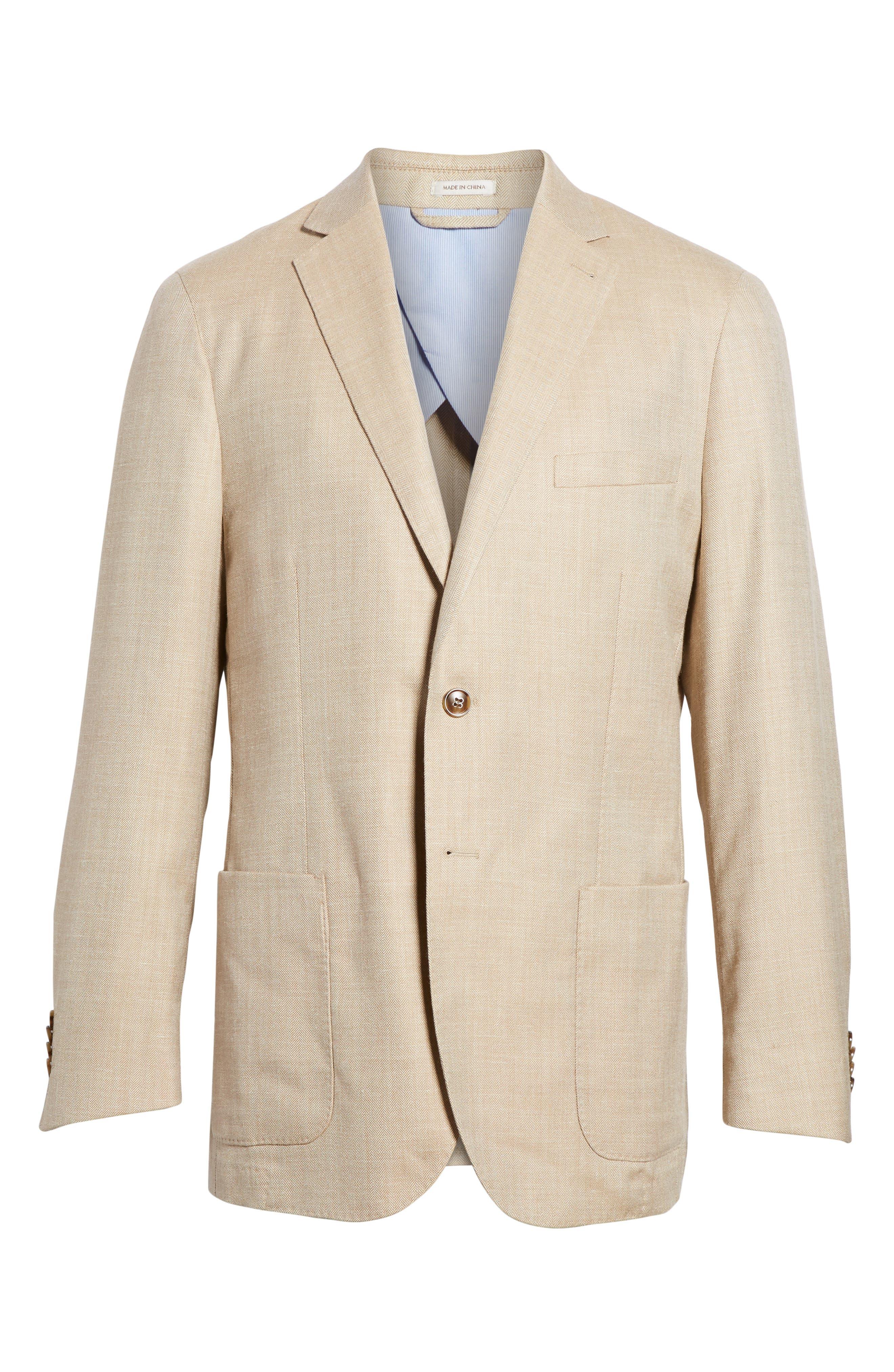 Crown Herringbone Wool & Silk Blend Jacket,                             Alternate thumbnail 6, color,                             Stone