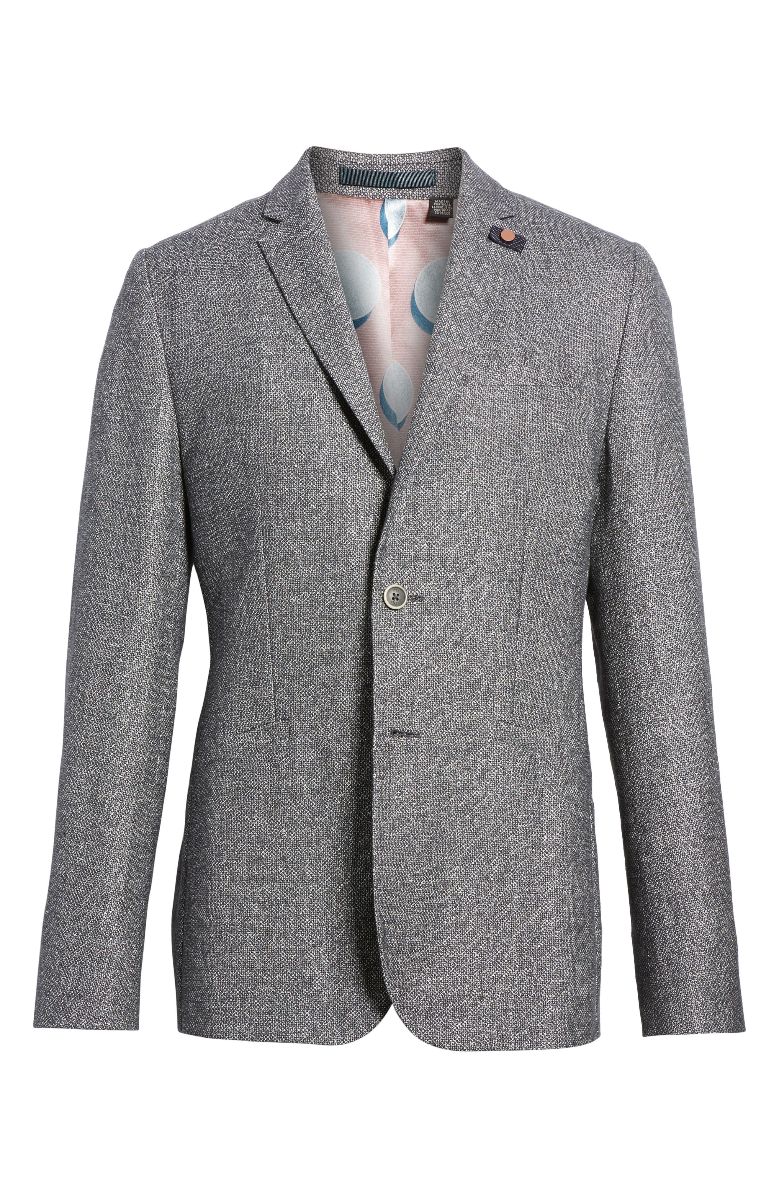 Milar Trim Fit Wool & Linen Sport Coat,                             Alternate thumbnail 6, color,                             Charcoal