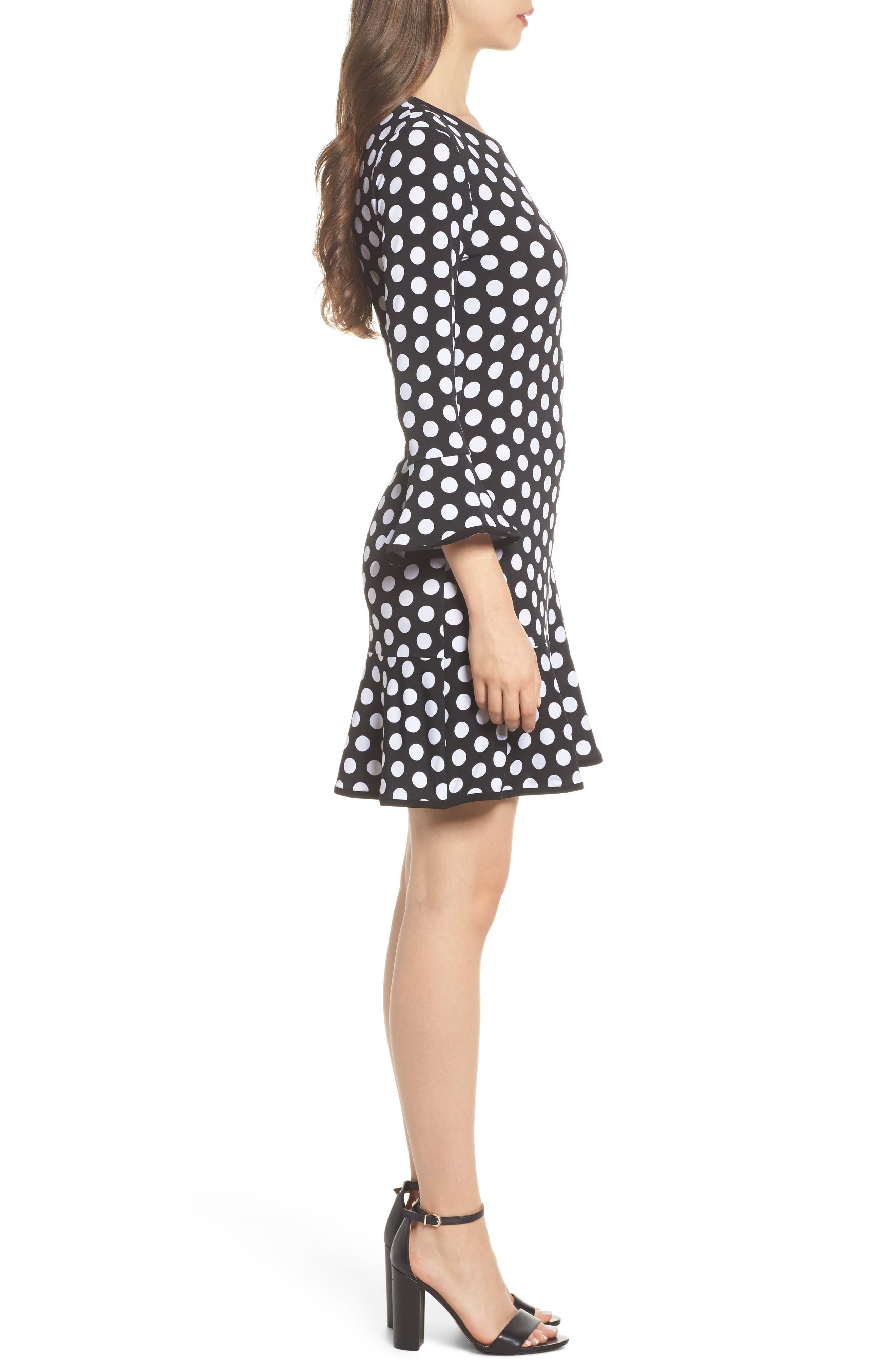 Simple Dot Swing Dress,                             Alternate thumbnail 3, color,                             Black/ White