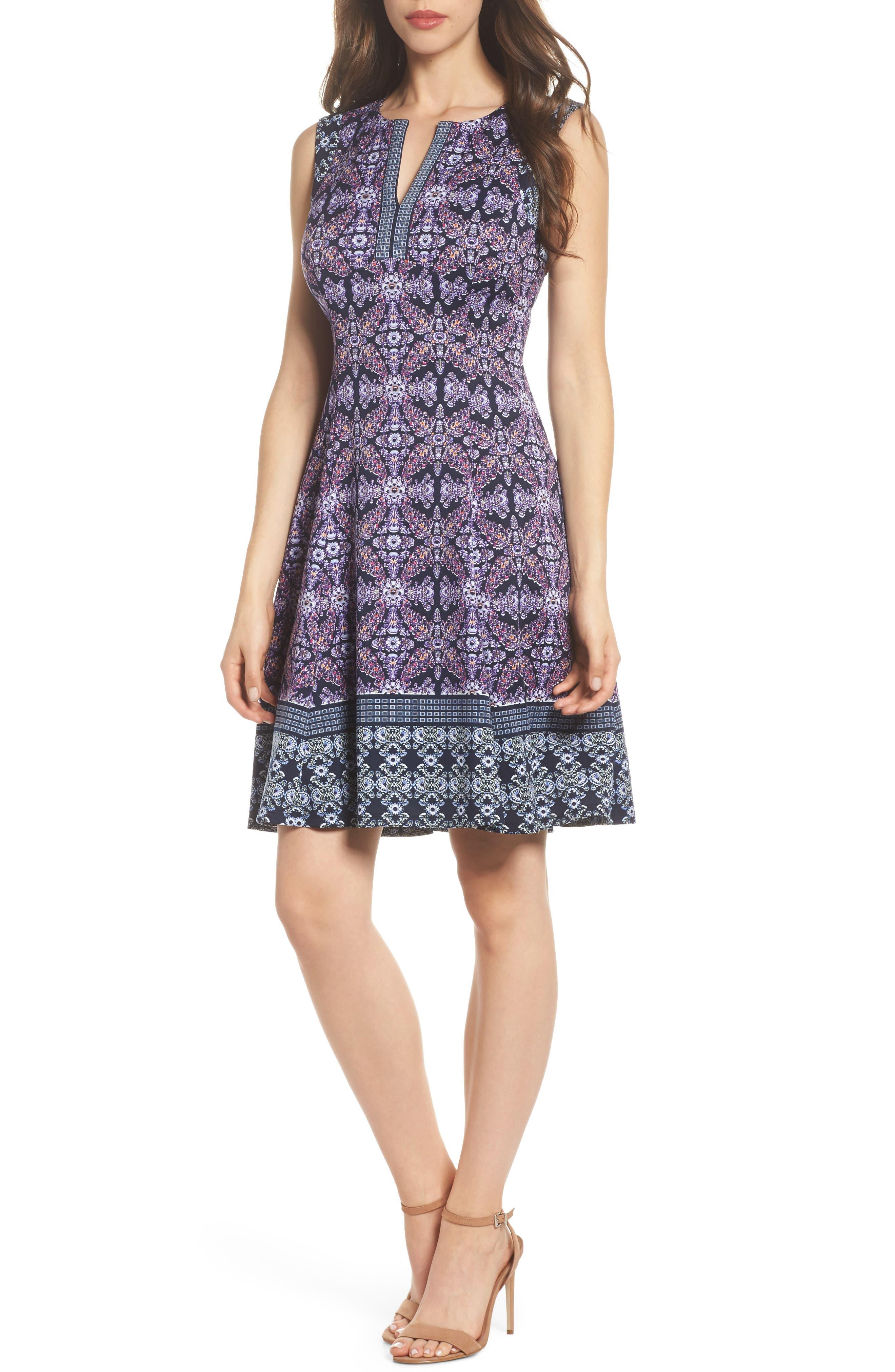Scuba Fit & Flare Dress,                             Main thumbnail 1, color,                             Navy/ Lavender