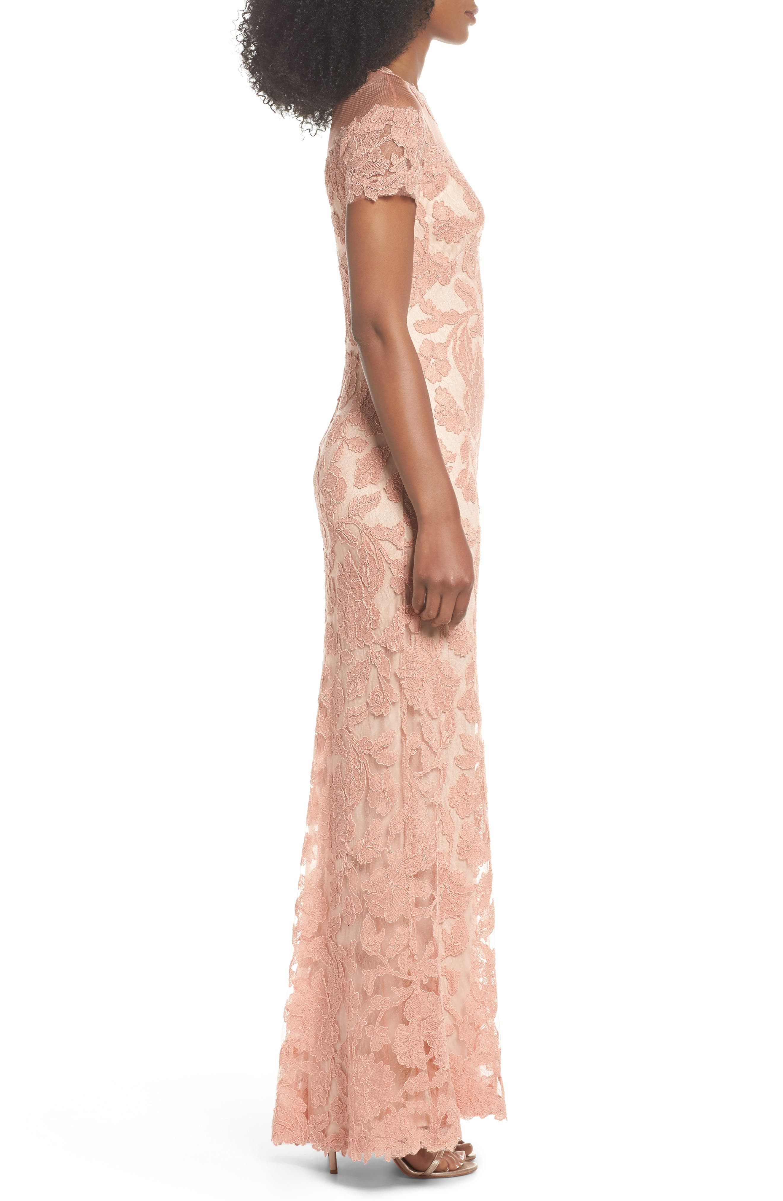 Illusion Yoke Embroidered Gown,                             Alternate thumbnail 3, color,                             Coral