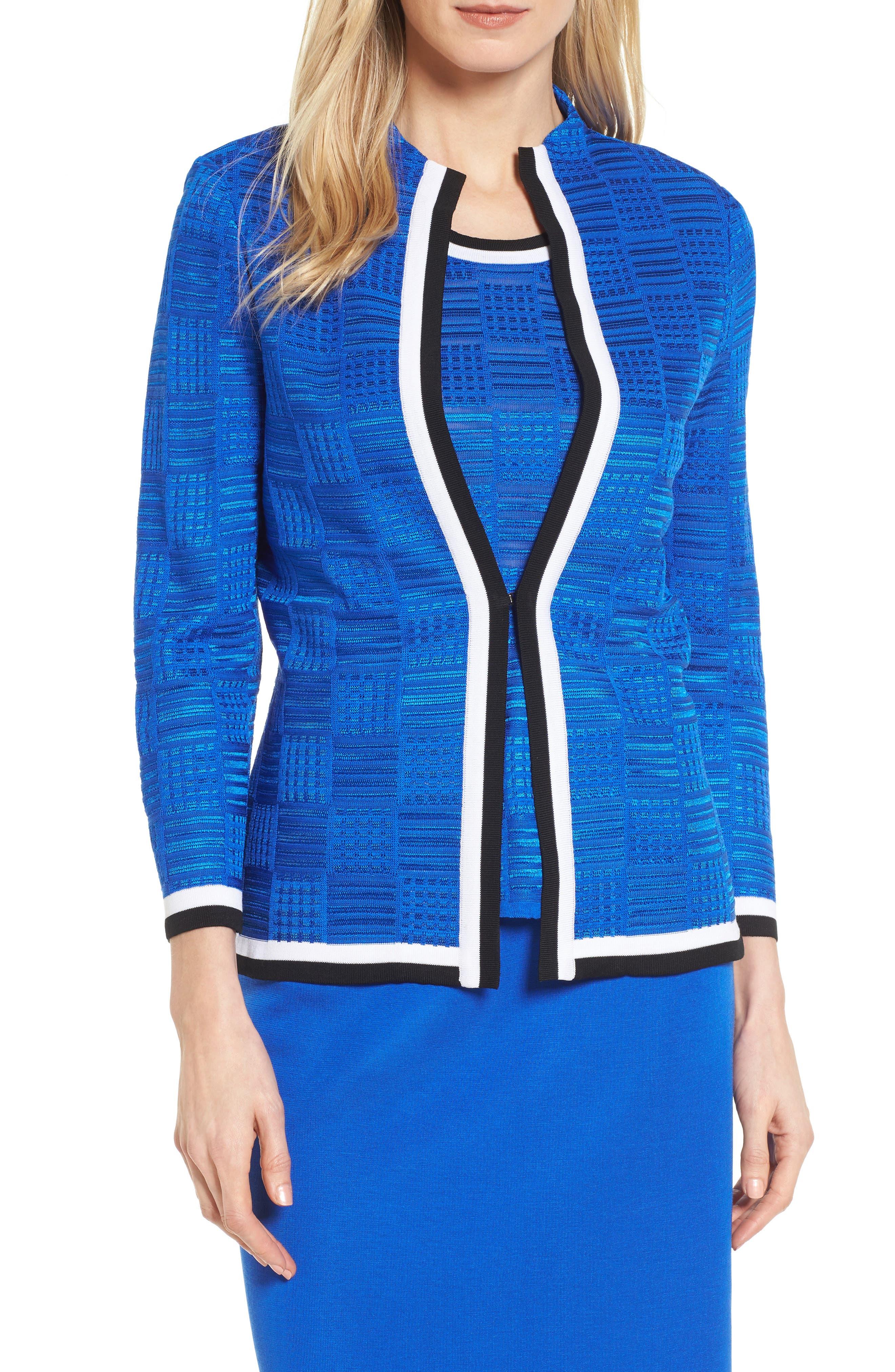 Basketweave Jacquard Jacket,                         Main,                         color, Patriot Blue/ Black/ White