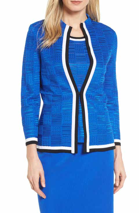 Ming Wang Basketweave Jacquard Jacket
