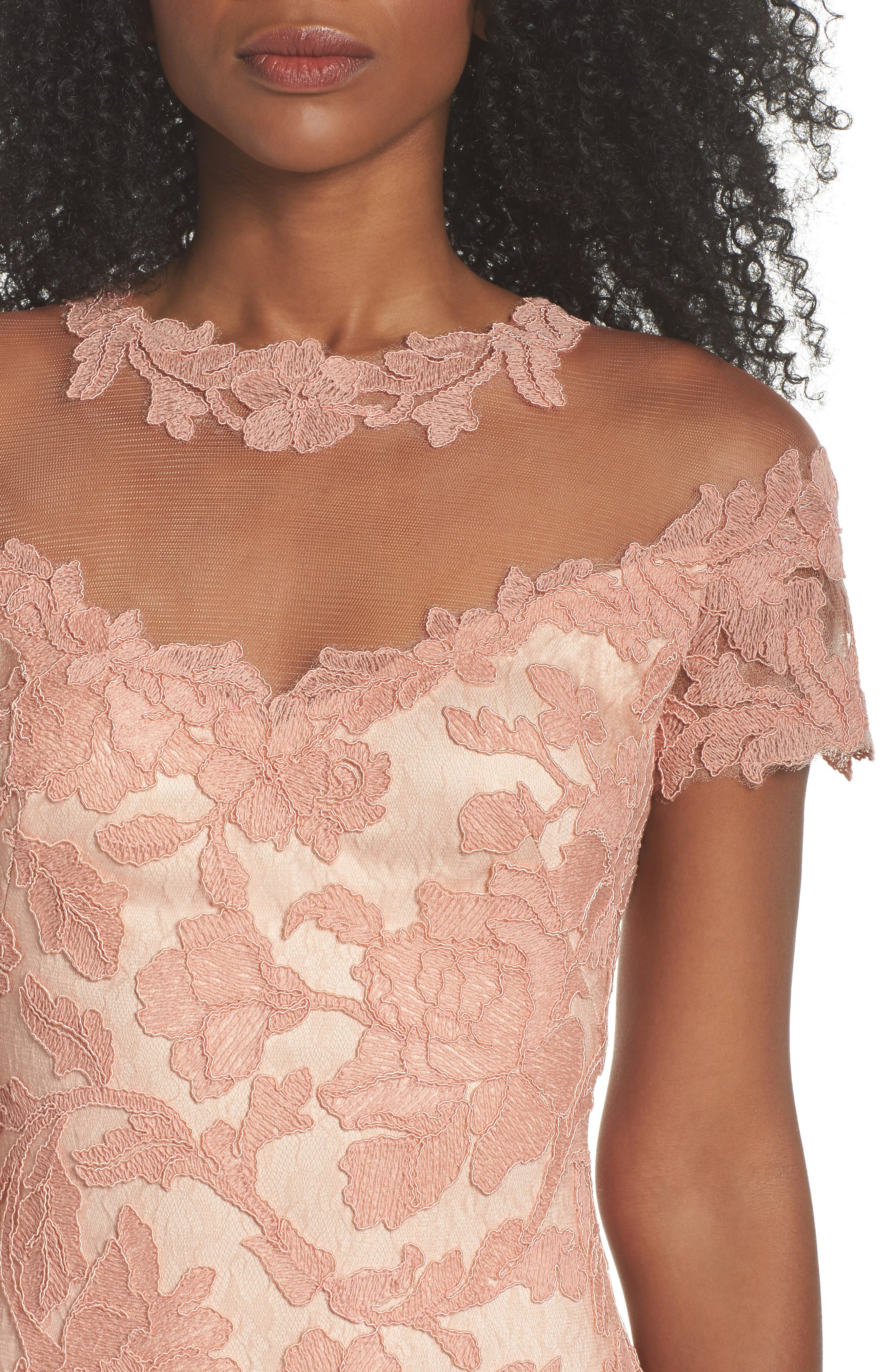 Illusion Yoke Embroidered Gown,                             Alternate thumbnail 4, color,                             Coral