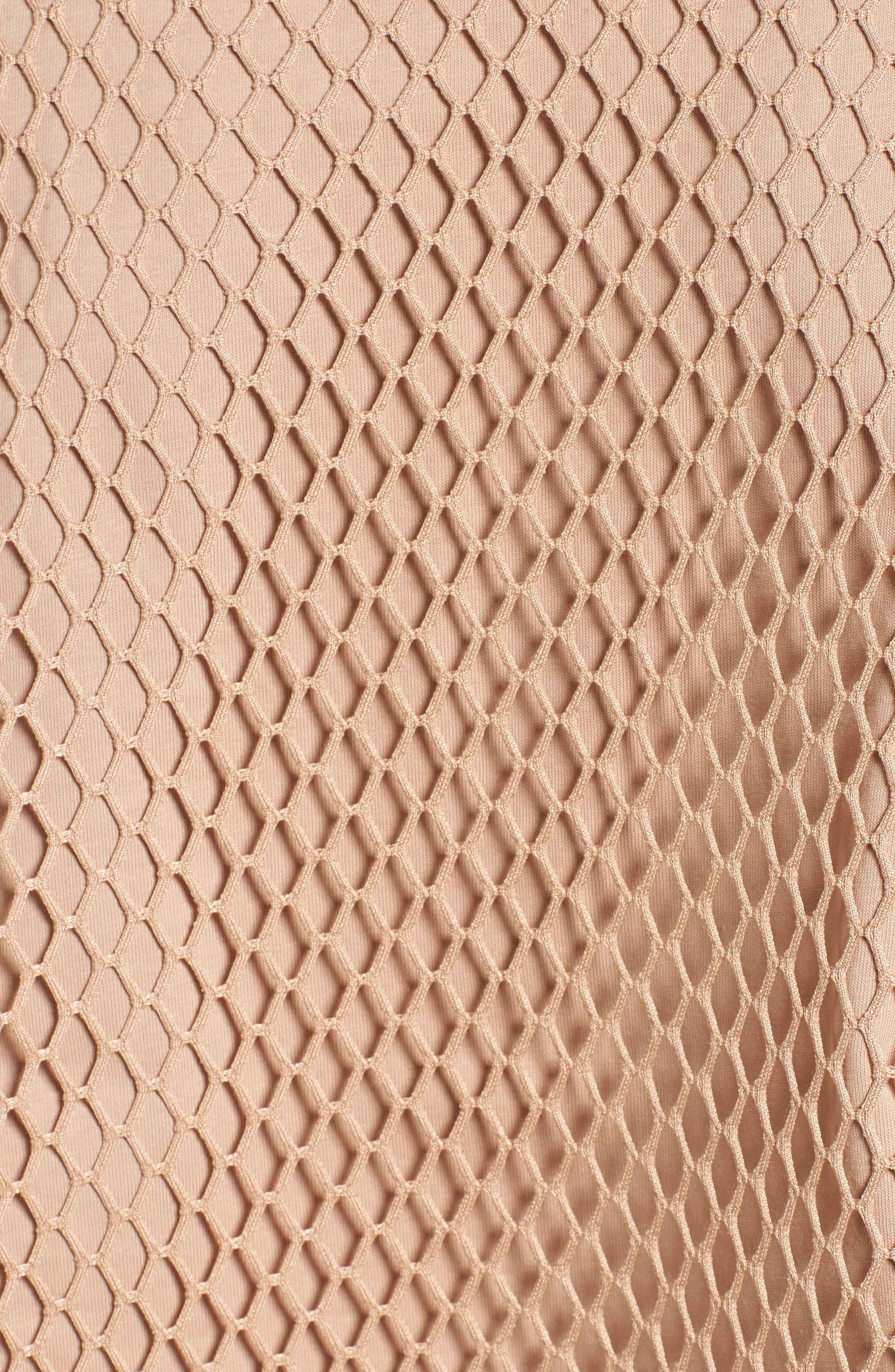 Mesh Overlay Logo Hoodie,                             Alternate thumbnail 6, color,                             Sand