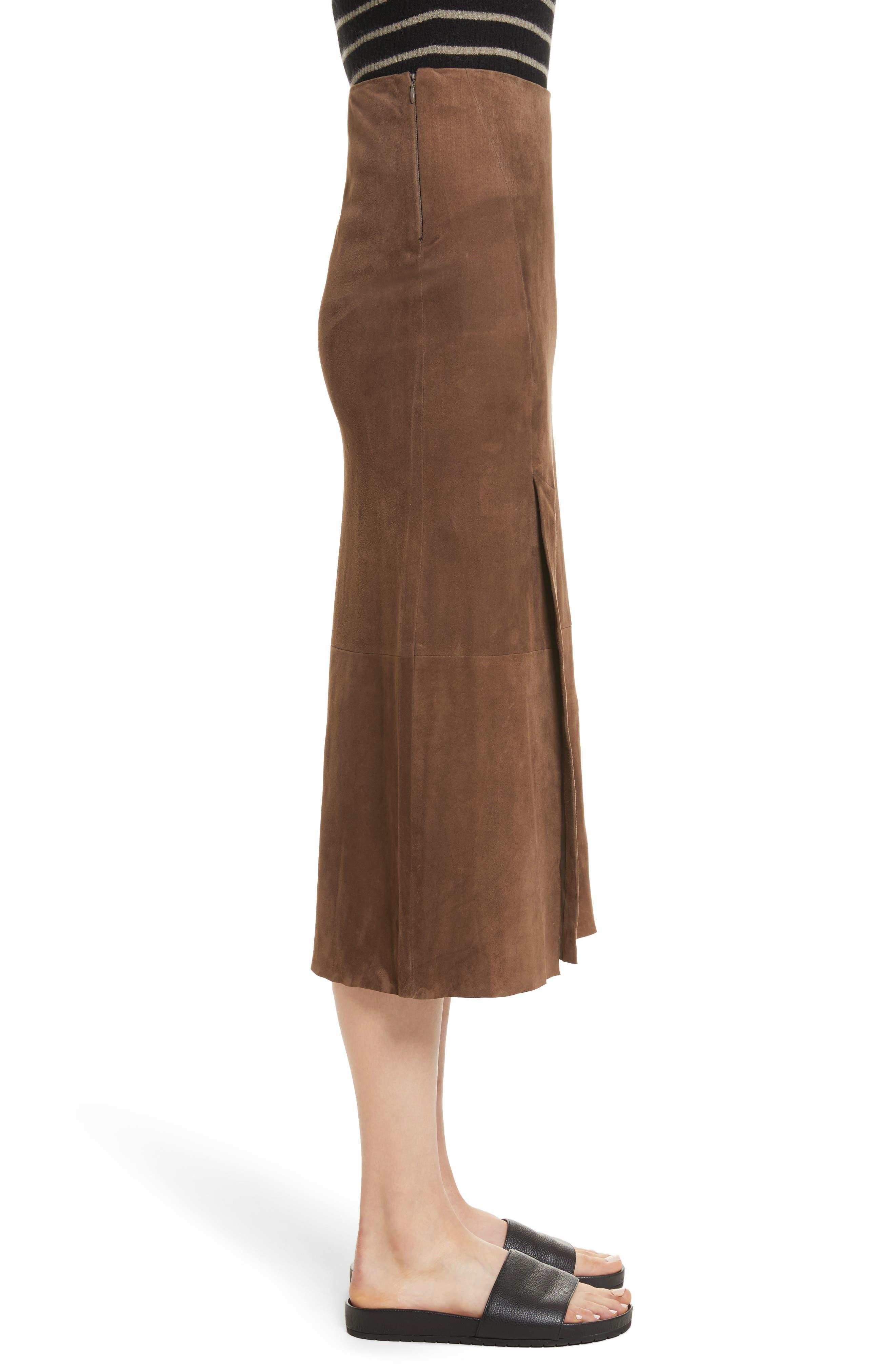 Suede Slit Skirt,                             Alternate thumbnail 3, color,                             Dark Taupe