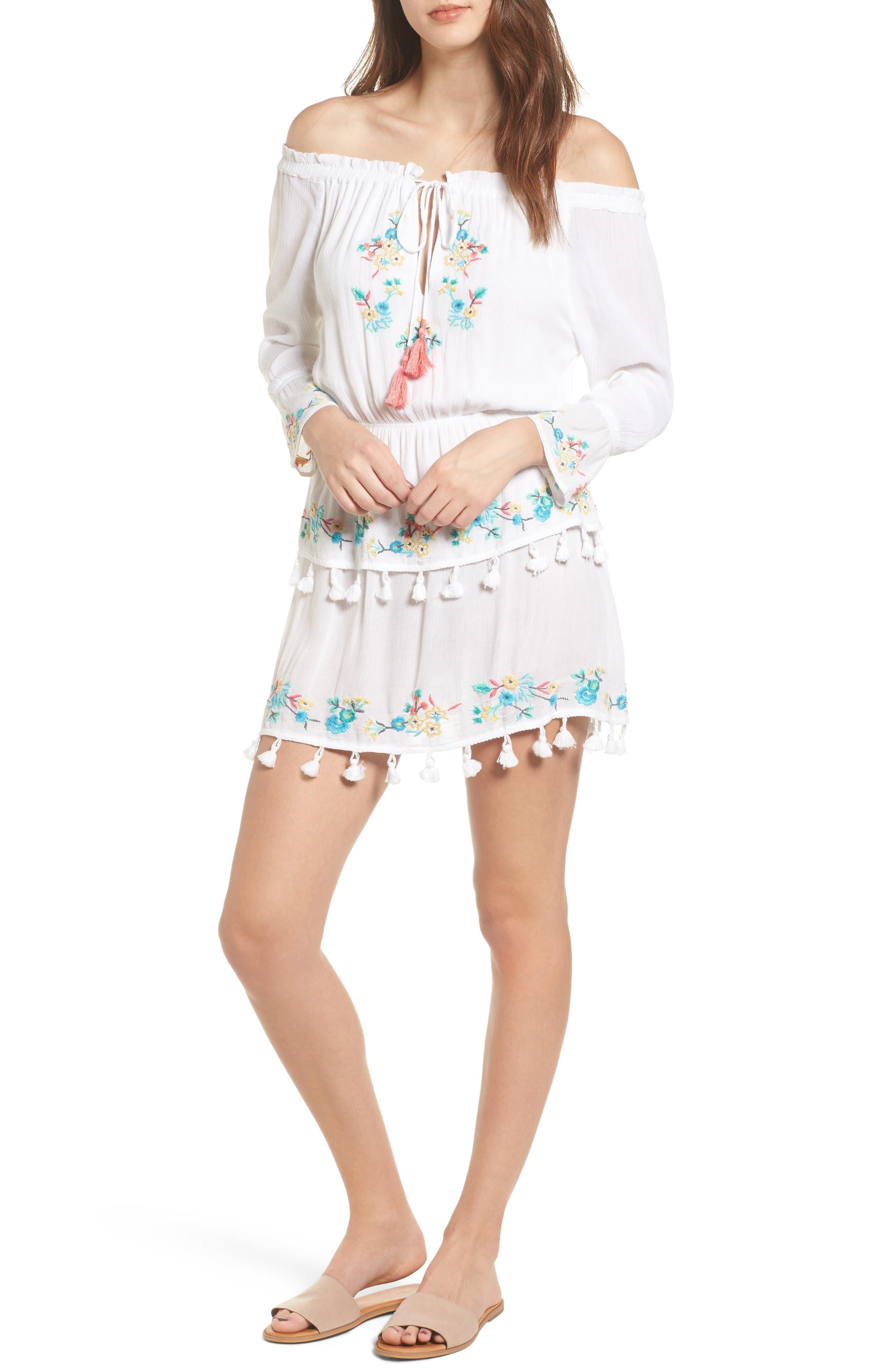 Ashlyn Embroidered Off the Shoulder Minidress,                         Main,                         color, Eggshell