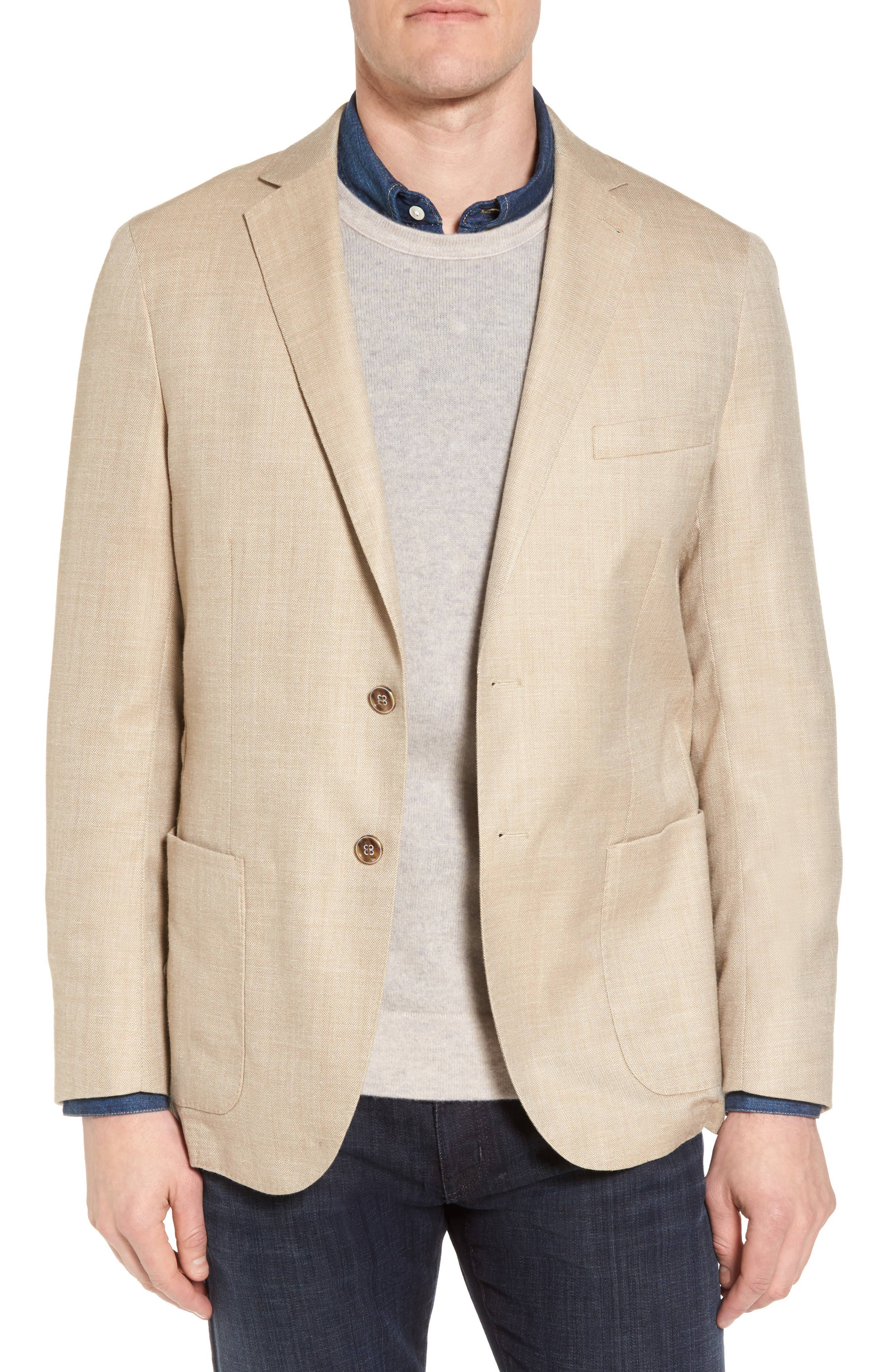 Crown Herringbone Wool & Silk Blend Jacket,                             Main thumbnail 1, color,                             Stone