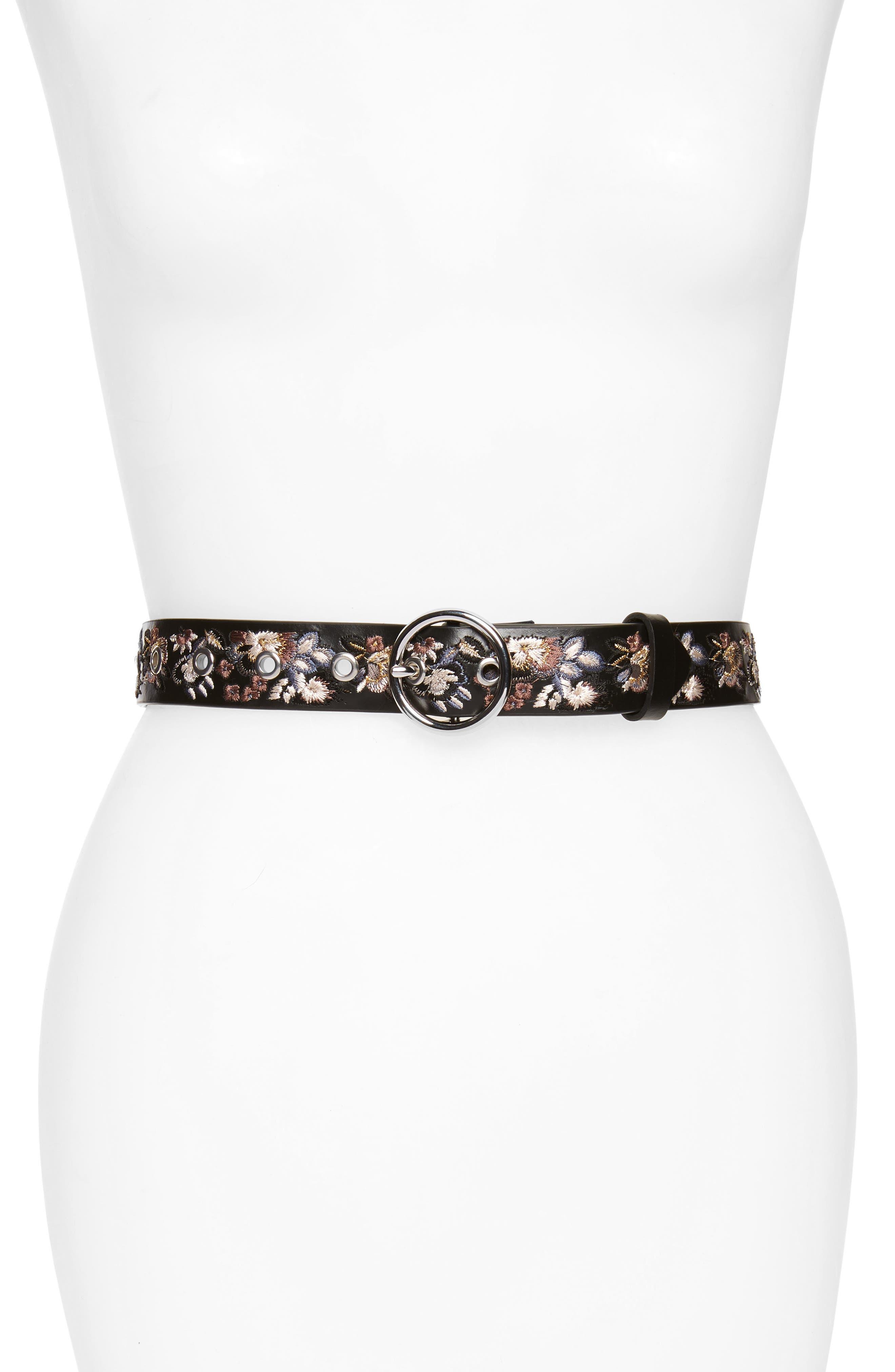 Embroidered Leather Belt,                         Main,                         color, Black / Pol Nickel