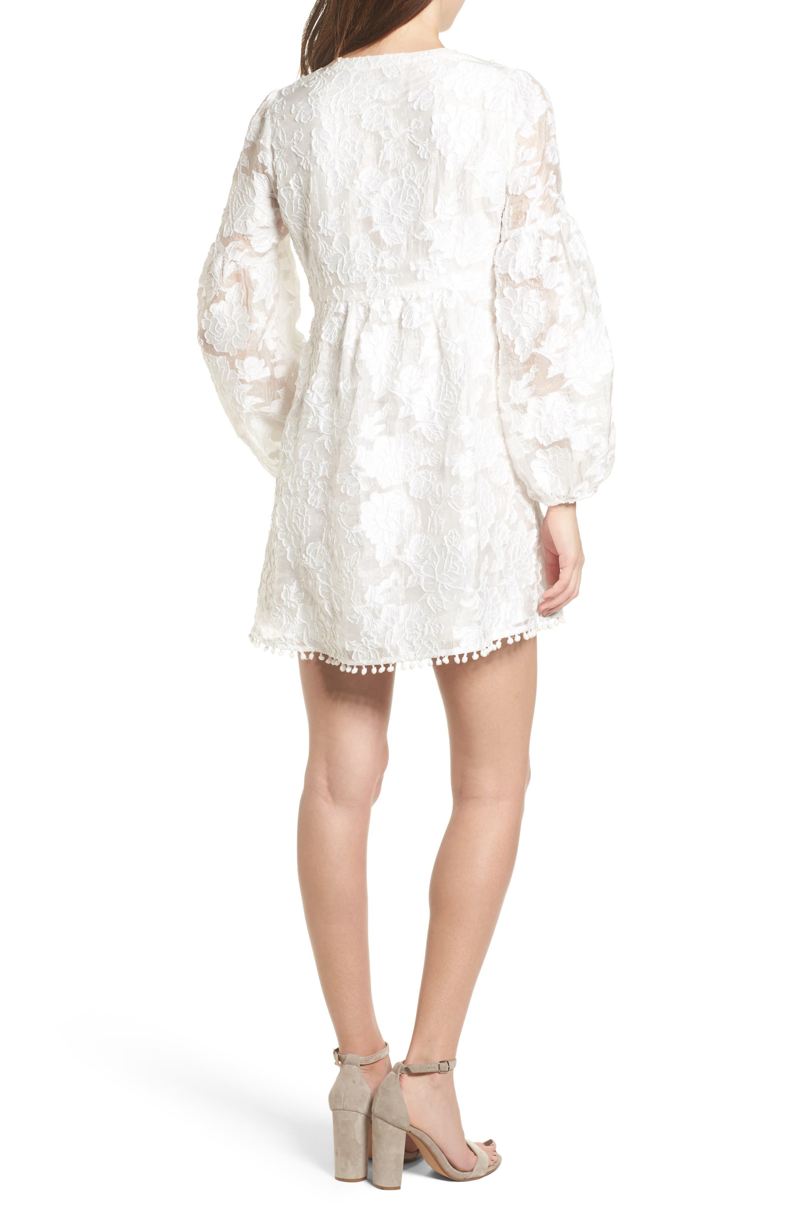 Floral Burnout Dress,                             Alternate thumbnail 3, color,                             White