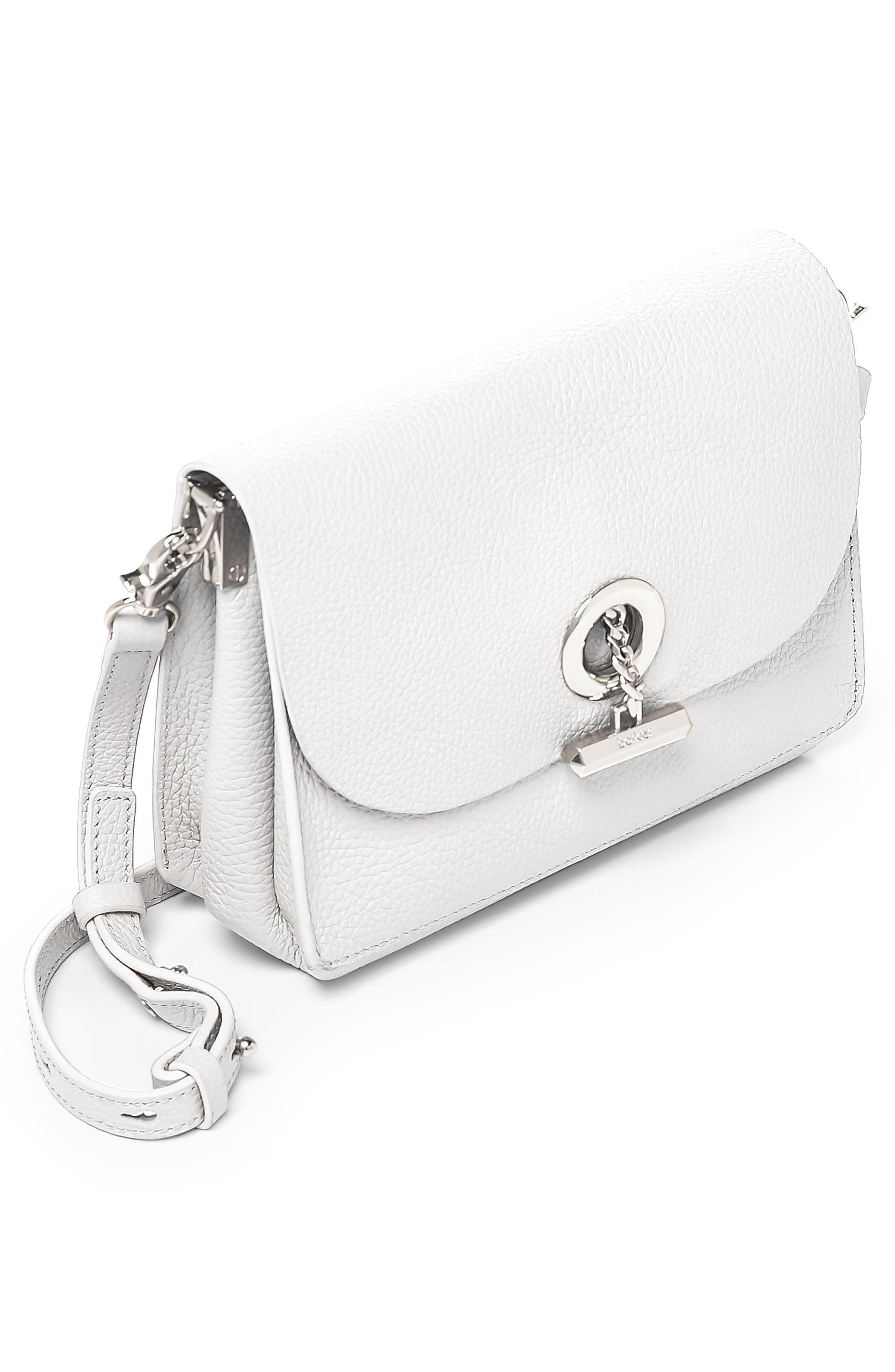 Waverly Leather Crossbody Bag,                             Alternate thumbnail 4, color,                             Chalk