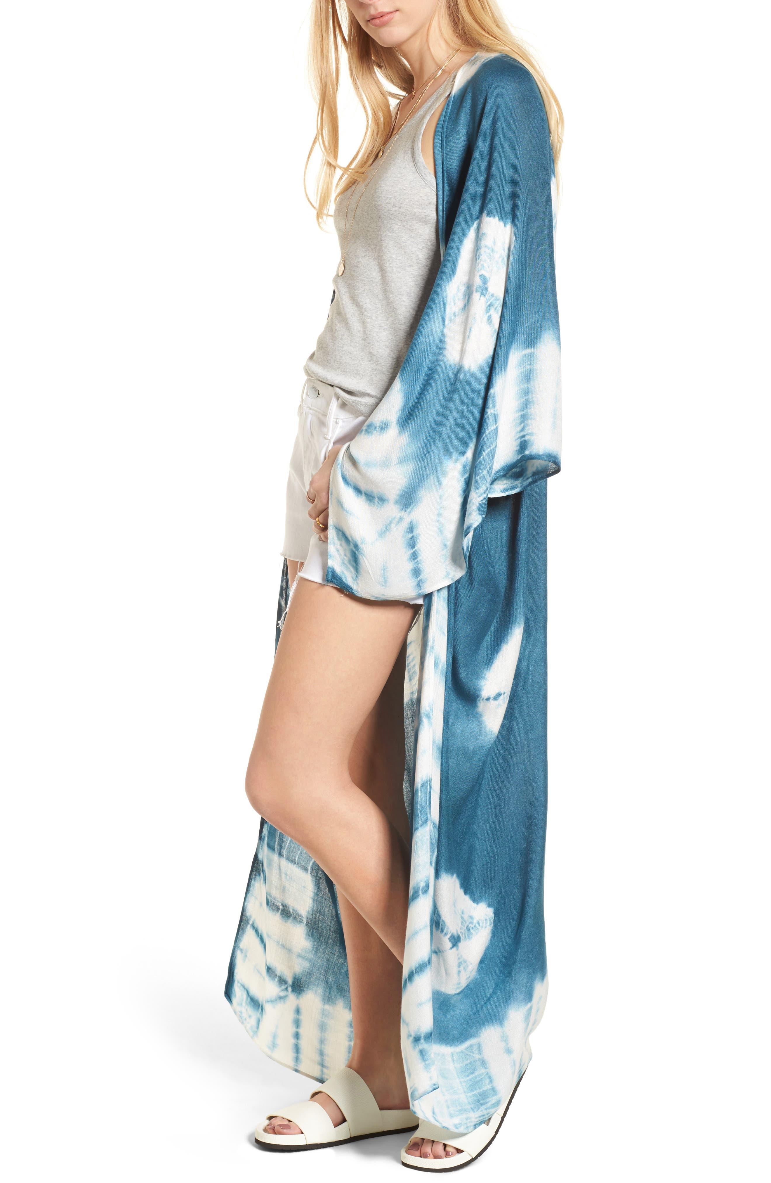 Spellbound Tie Dye Kimono Duster,                             Main thumbnail 1, color,                             Ocean