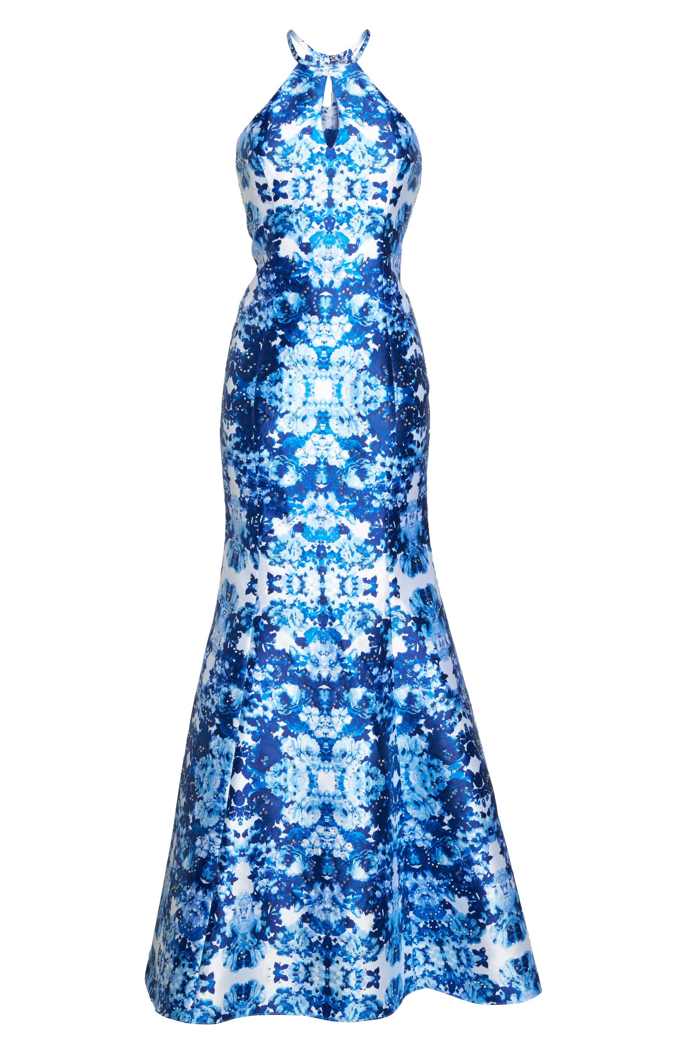 Mirror Pattern Halter Mermaid Gown,                             Alternate thumbnail 6, color,                             Blue/ Multi
