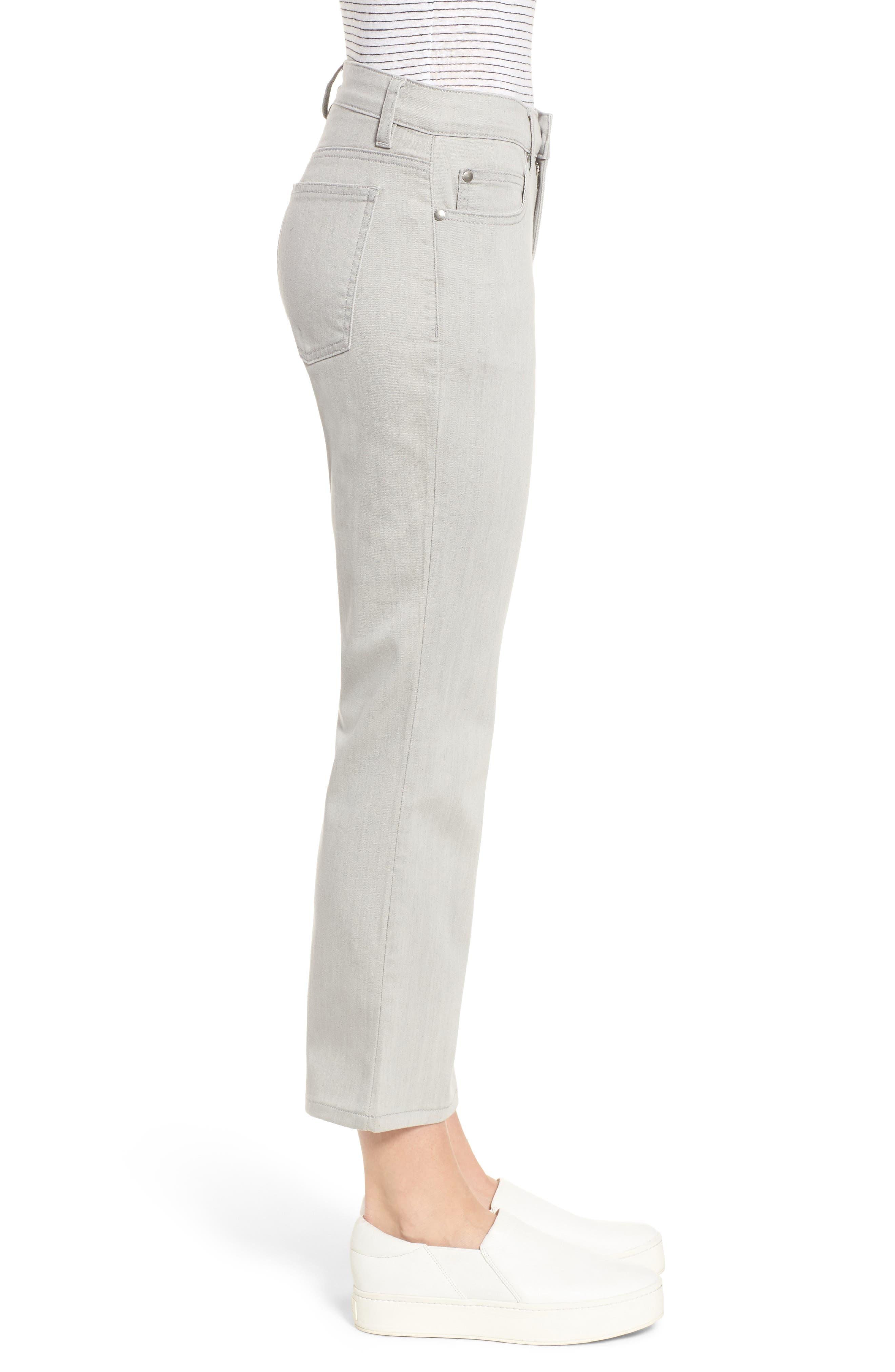 Organic Cotton Blend Crop Flare Jeans,                             Alternate thumbnail 3, color,                             Sun Bleached Gray