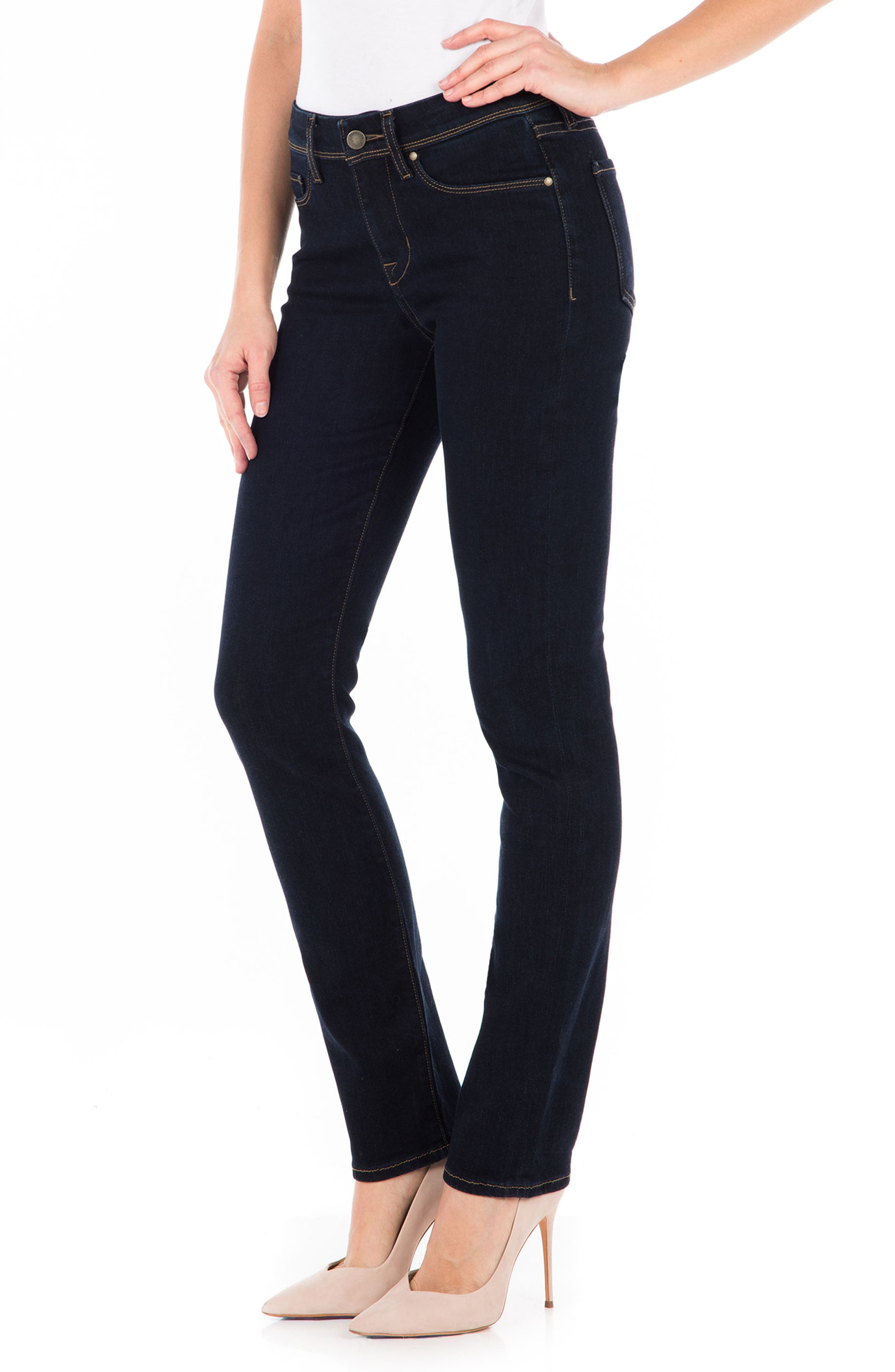 Stevie Straight Leg Jeans,                             Alternate thumbnail 3, color,                             Artic Blue