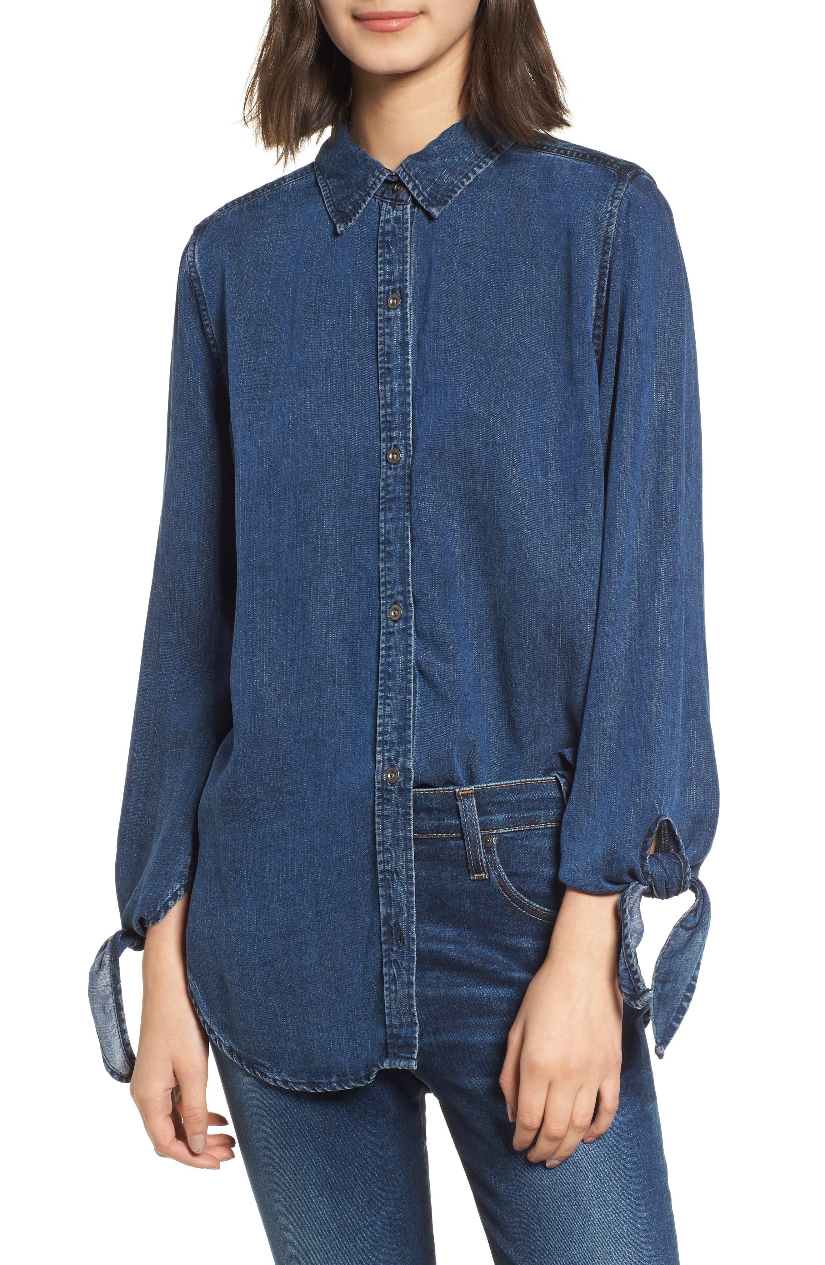 Bethany Tie Cuff Denim Shirt,                             Main thumbnail 1, color,                             Dark Vintage Wash