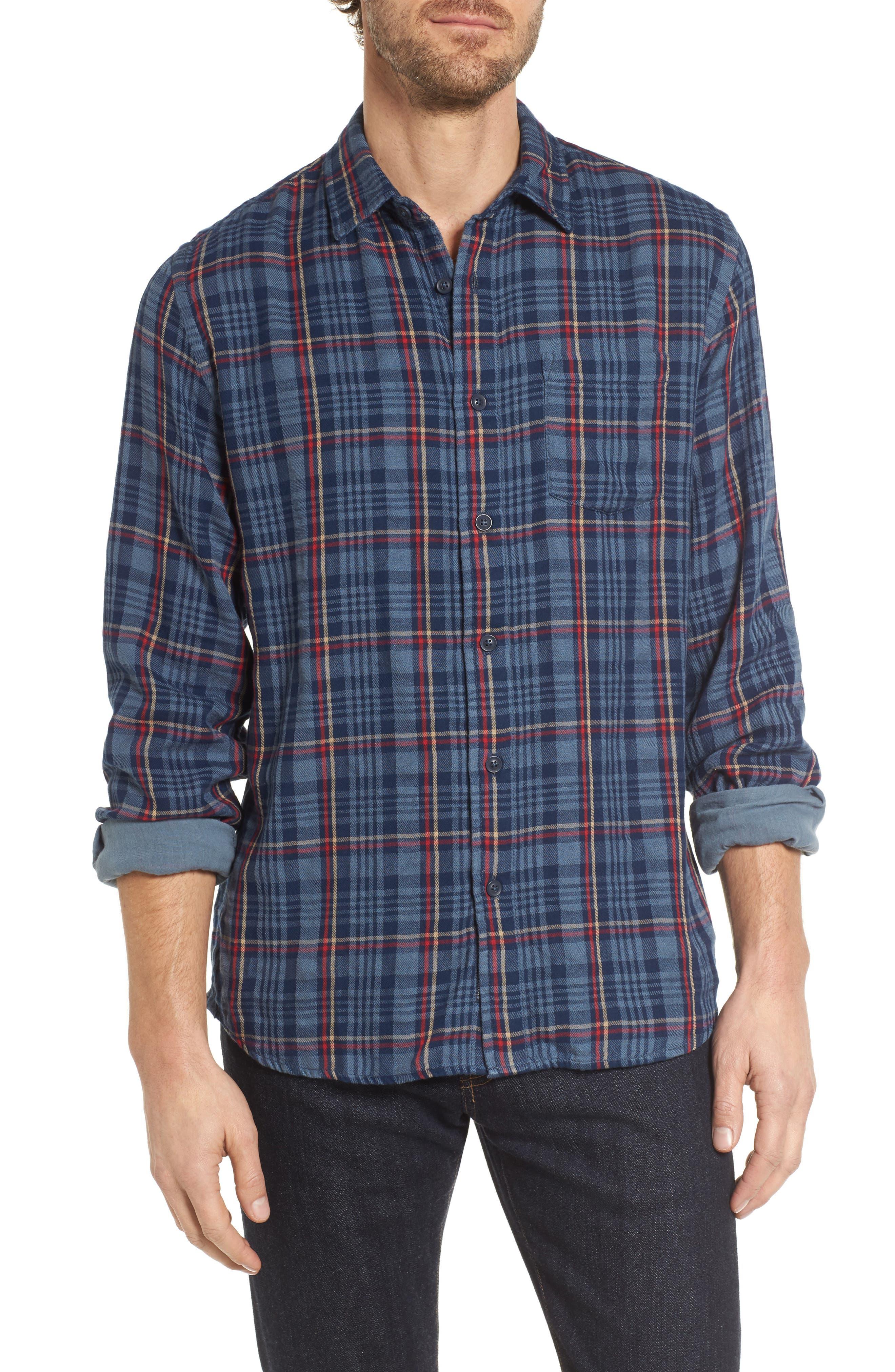 Alton Double Cloth Plaid Sport Shirt,                         Main,                         color, Navy Grey Plaid