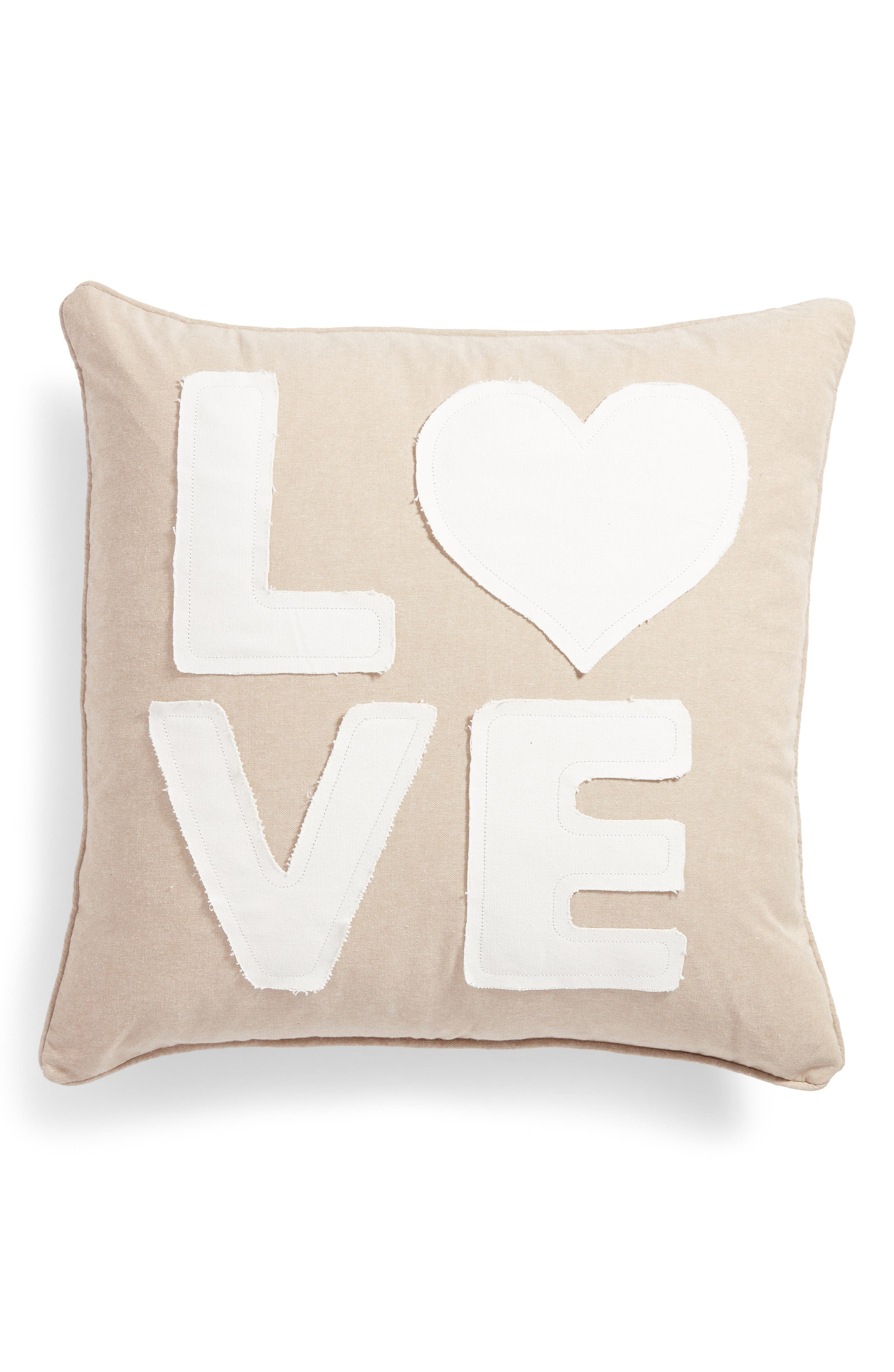 Love Accent Pillow,                             Main thumbnail 1, color,                             Taupe
