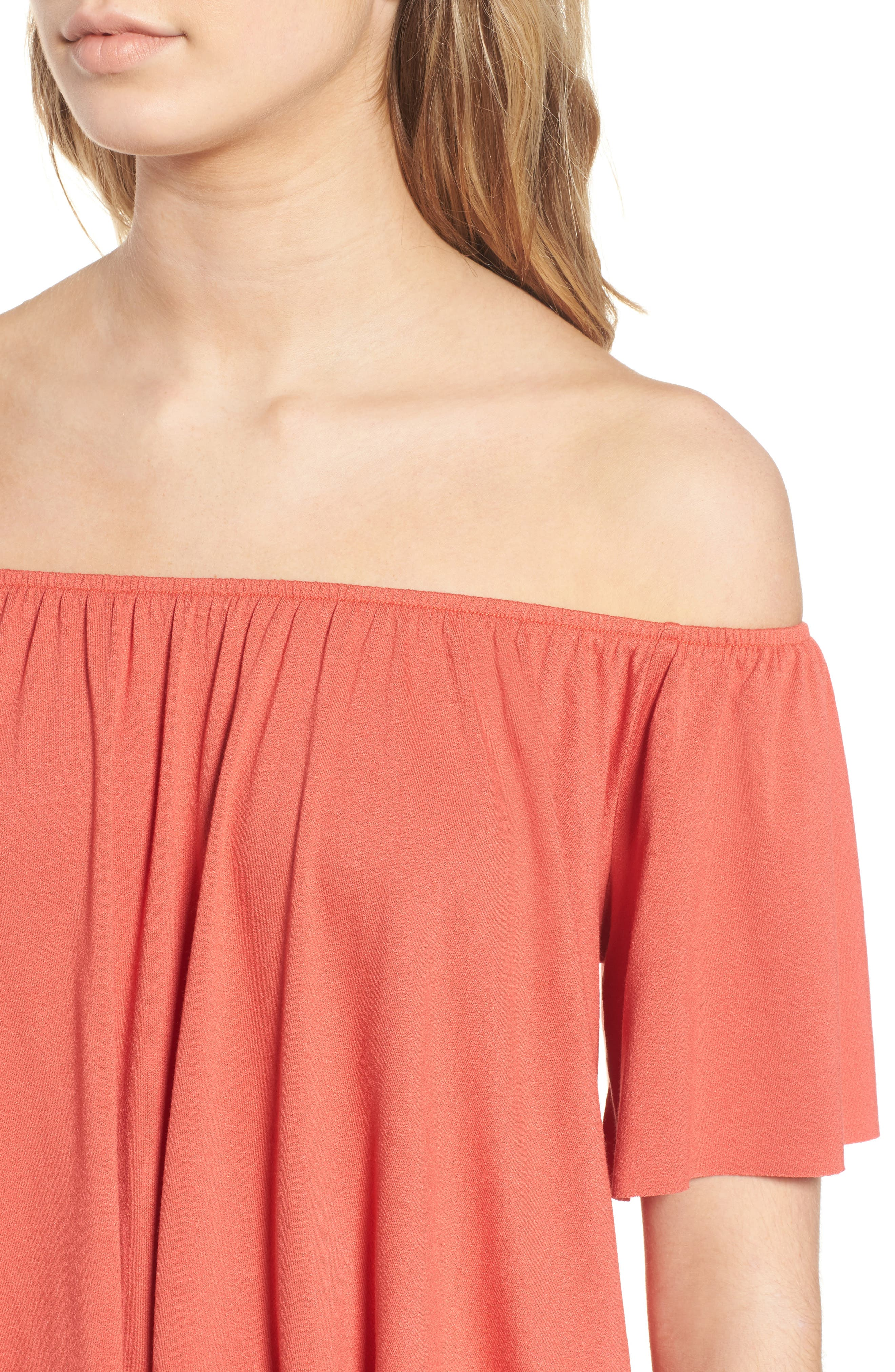 Off the Shoulder Top,                             Alternate thumbnail 4, color,                             Rust Sienna
