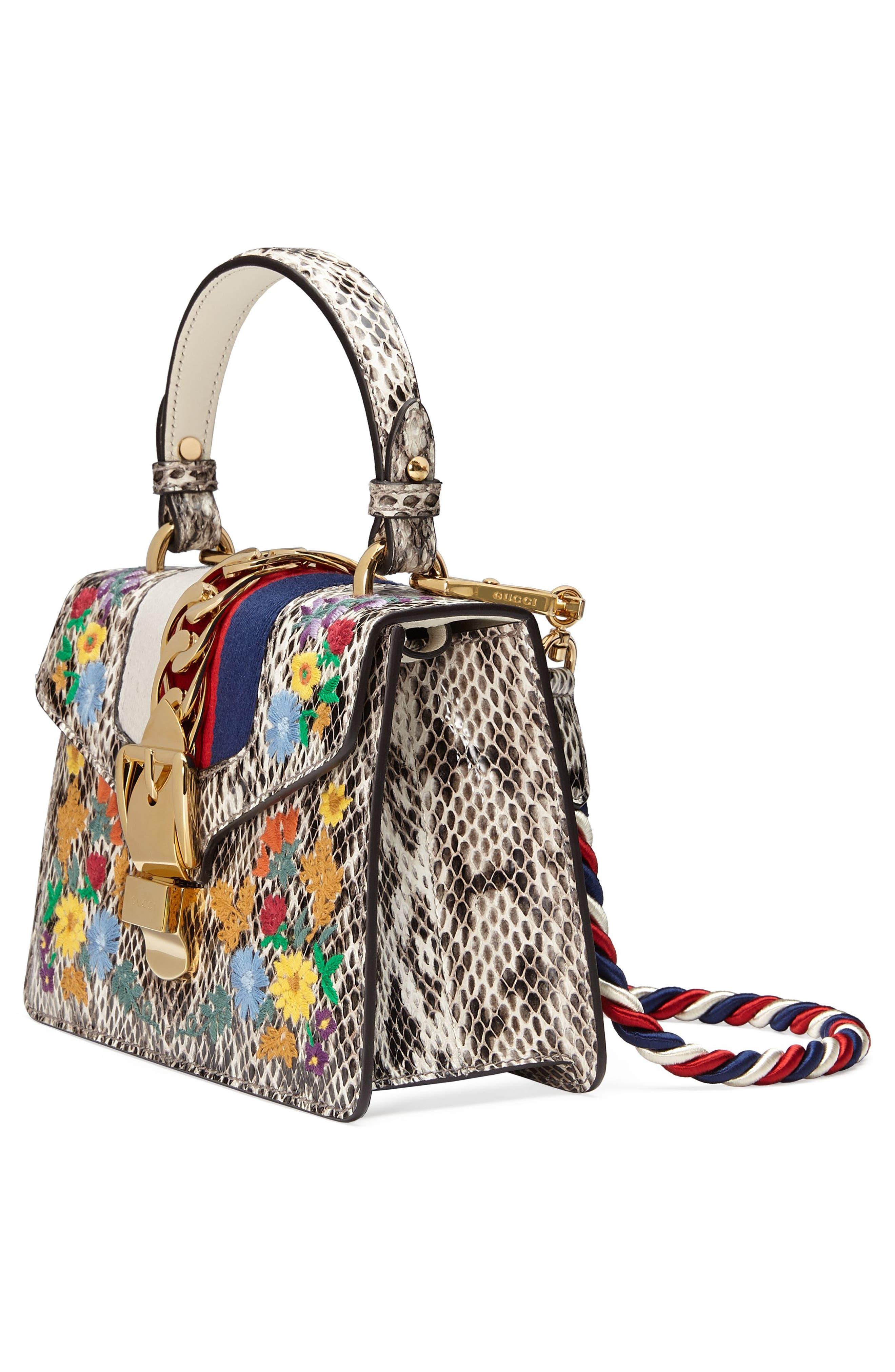Mini Sylvie Genuine Snakeskin Top Handle Bag,                             Alternate thumbnail 4, color,                             Roccia Multi