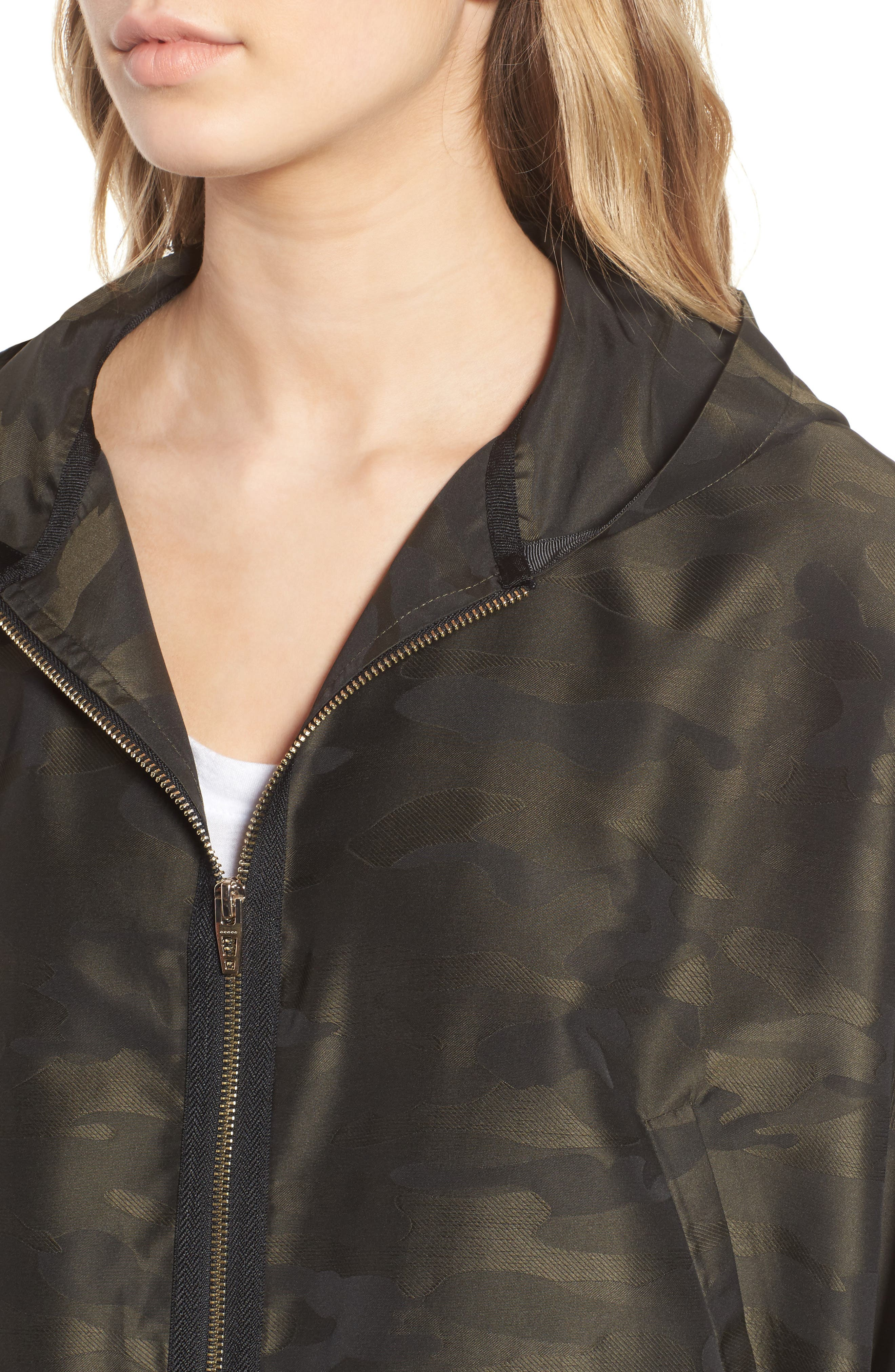 Camo We Not Bell Sleeve Jacket,                             Alternate thumbnail 4, color,                             Olive Camo