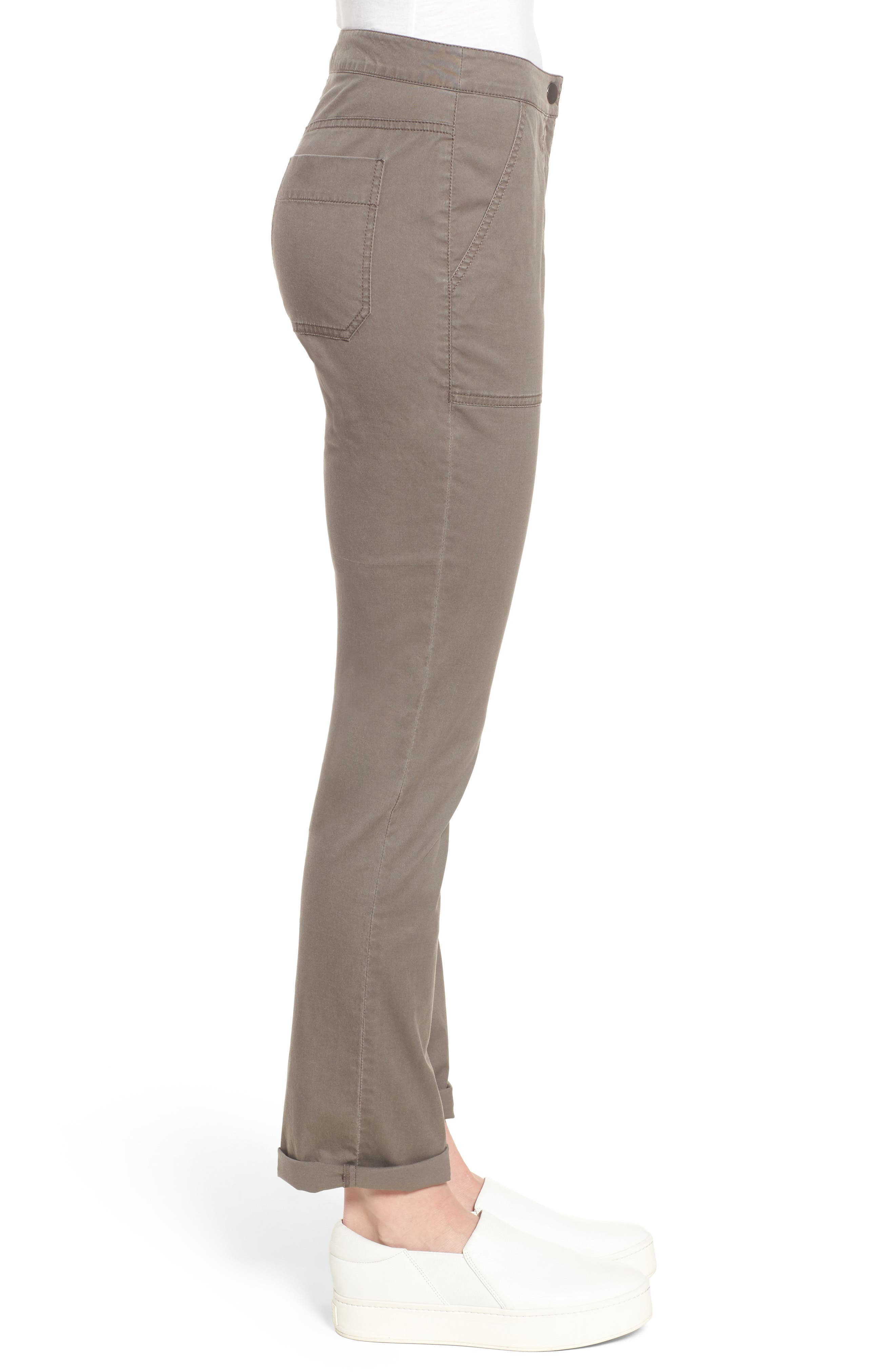Slim Organic Cotton Blend Pants,                             Alternate thumbnail 3, color,                             Rye
