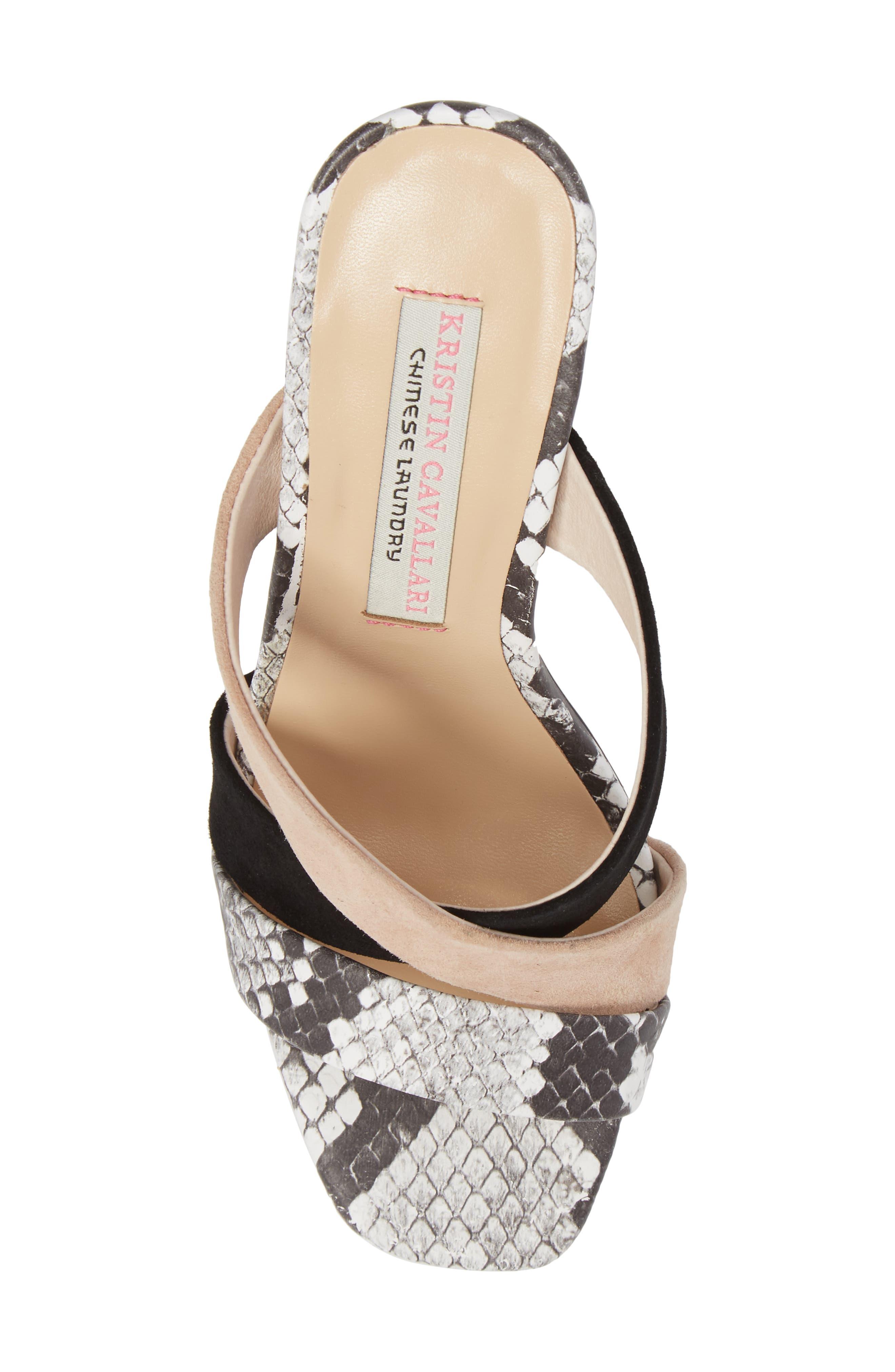 Lola Slide Sandal,                             Alternate thumbnail 5, color,                             Grey/ White Print Leather