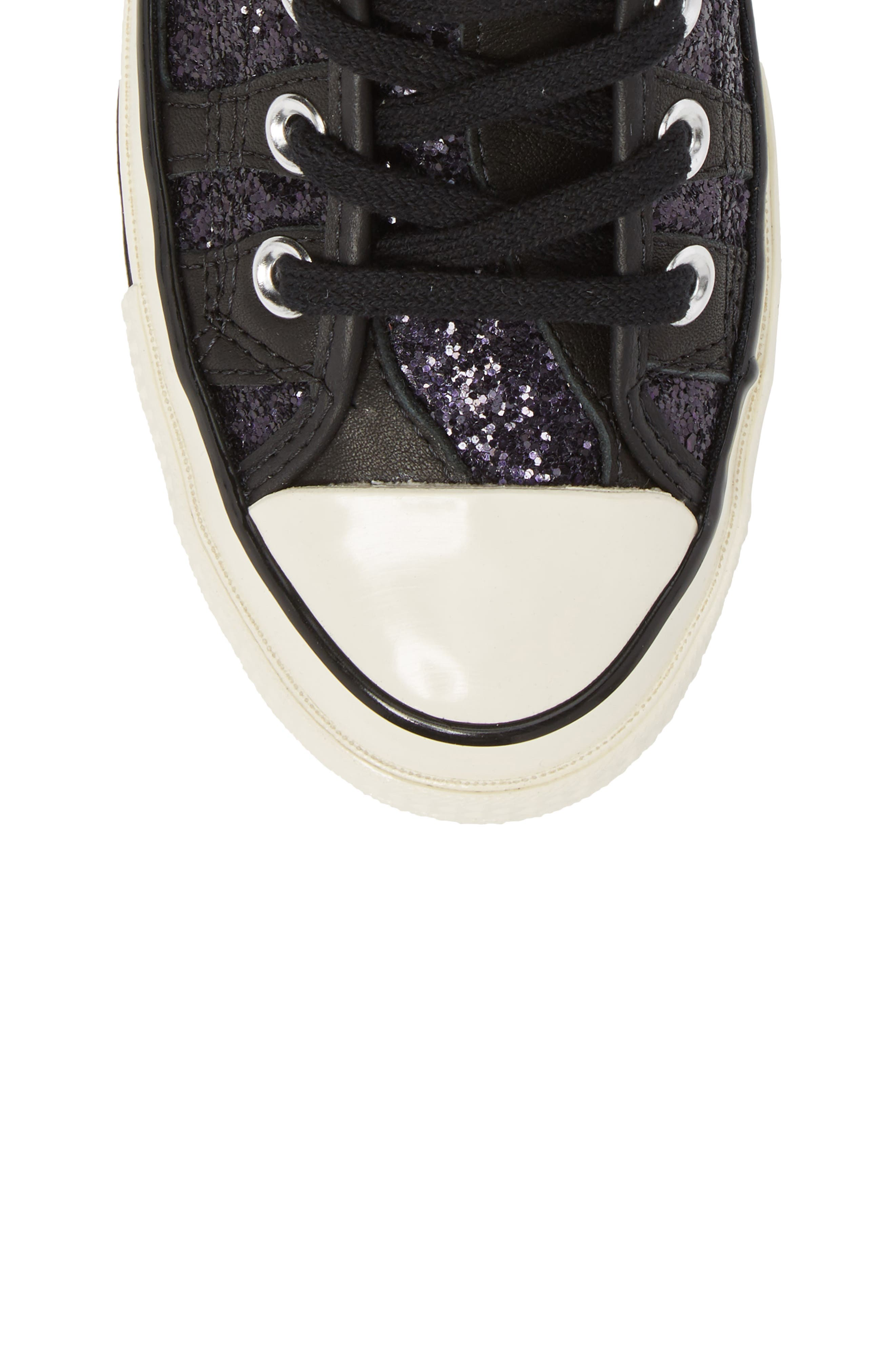 Chuck Taylor<sup>®</sup> All Star<sup>®</sup> 70 Animal Glitter High Top Sneaker,                             Alternate thumbnail 5, color,                             Black